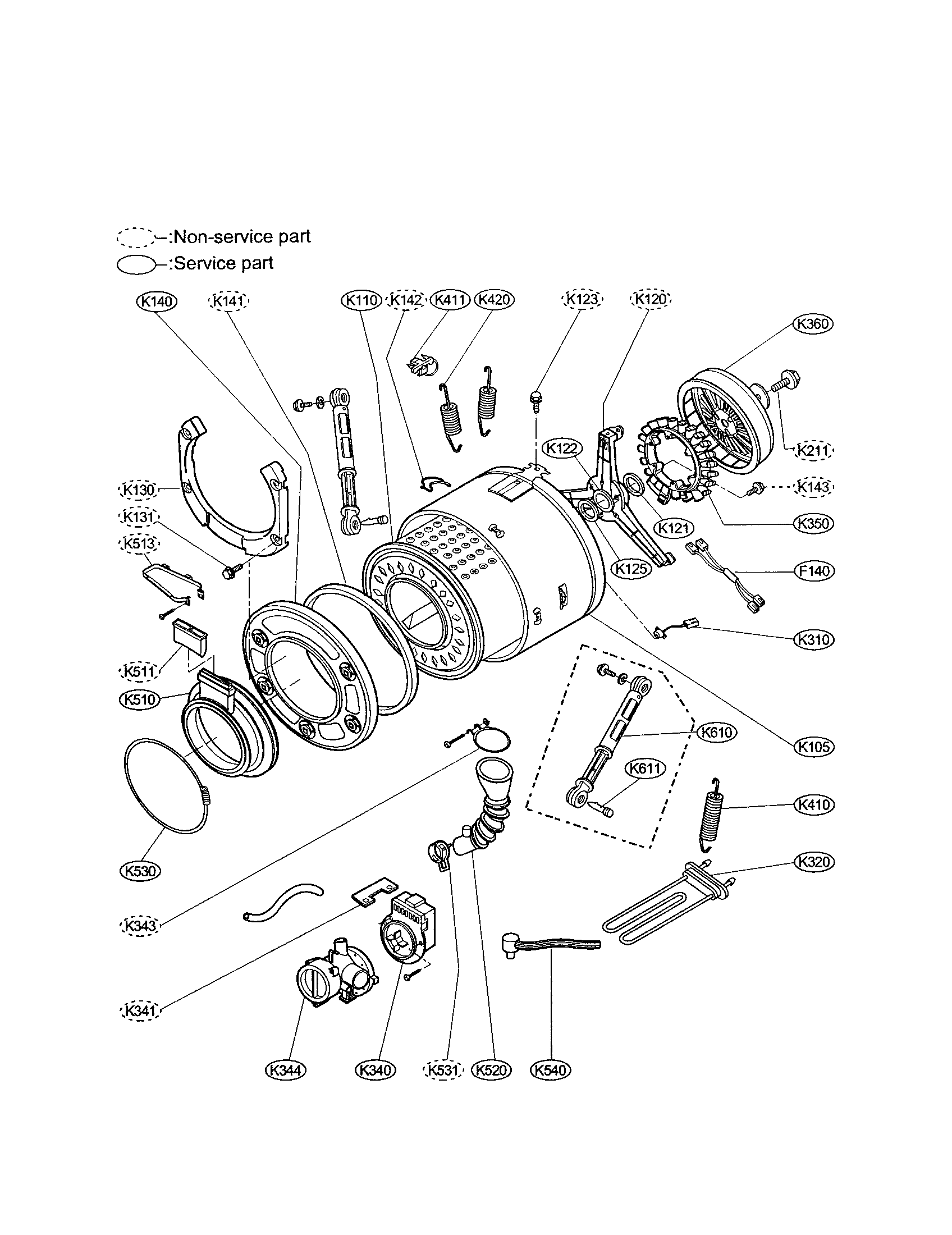 DRUM AND TUB ASSEMBLY Diagram & Parts List for Model
