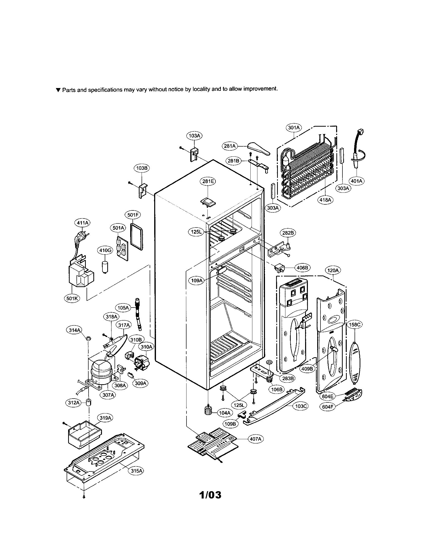 CABINET Diagram & Parts List for Model lrtp0931w LG-Parts