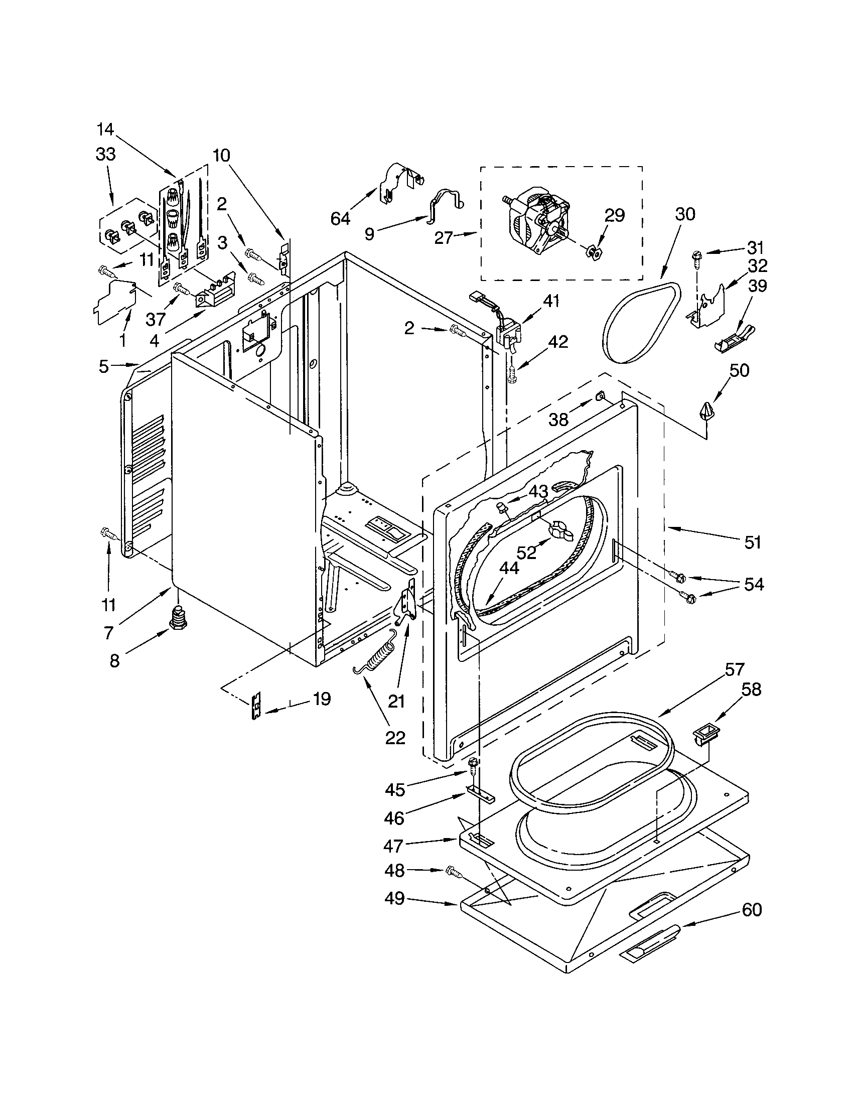 CABINET Diagram & Parts List for Model 11064602300 Kenmore