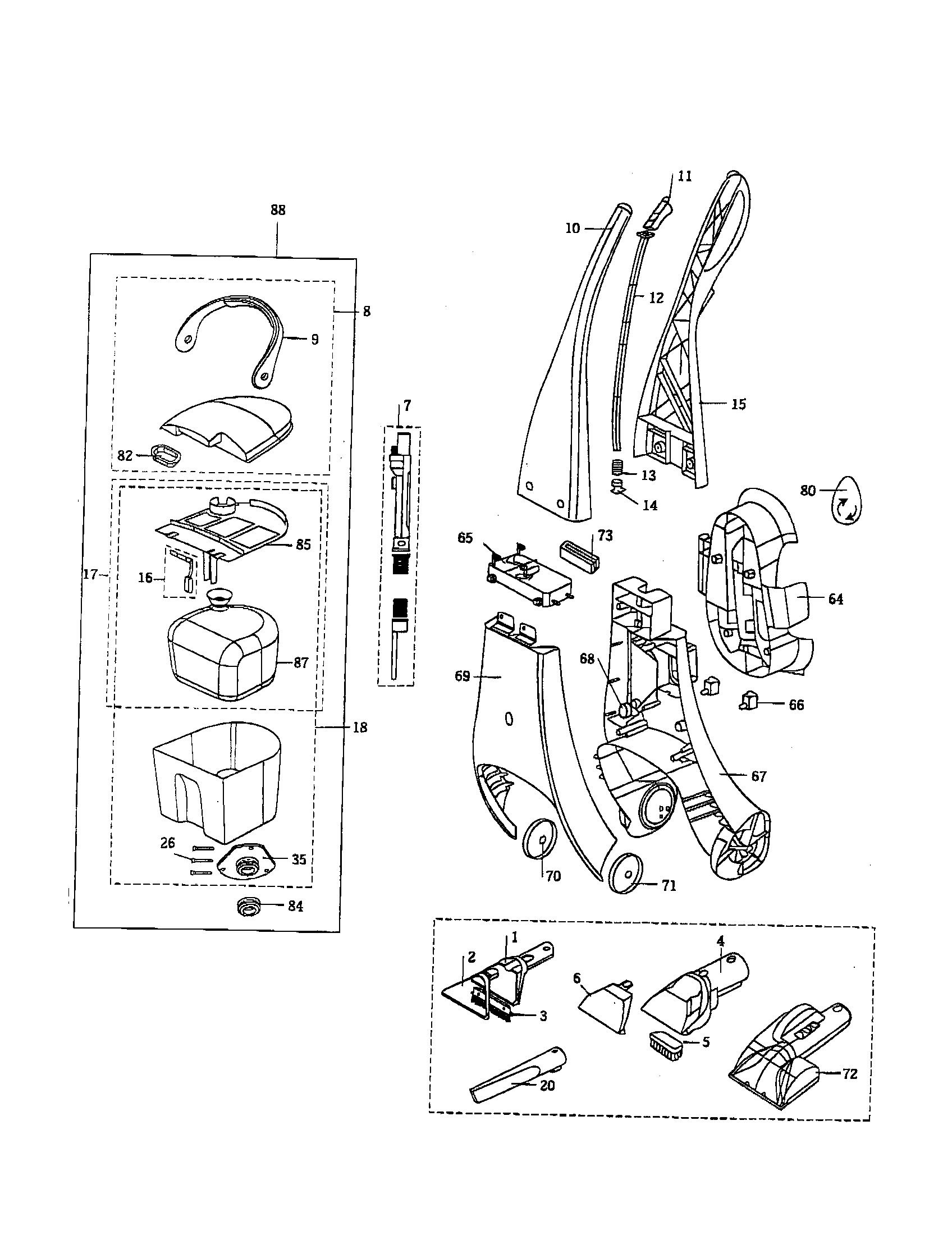 HANDLE ASSEMBLY Diagram & Parts List for Model 16991