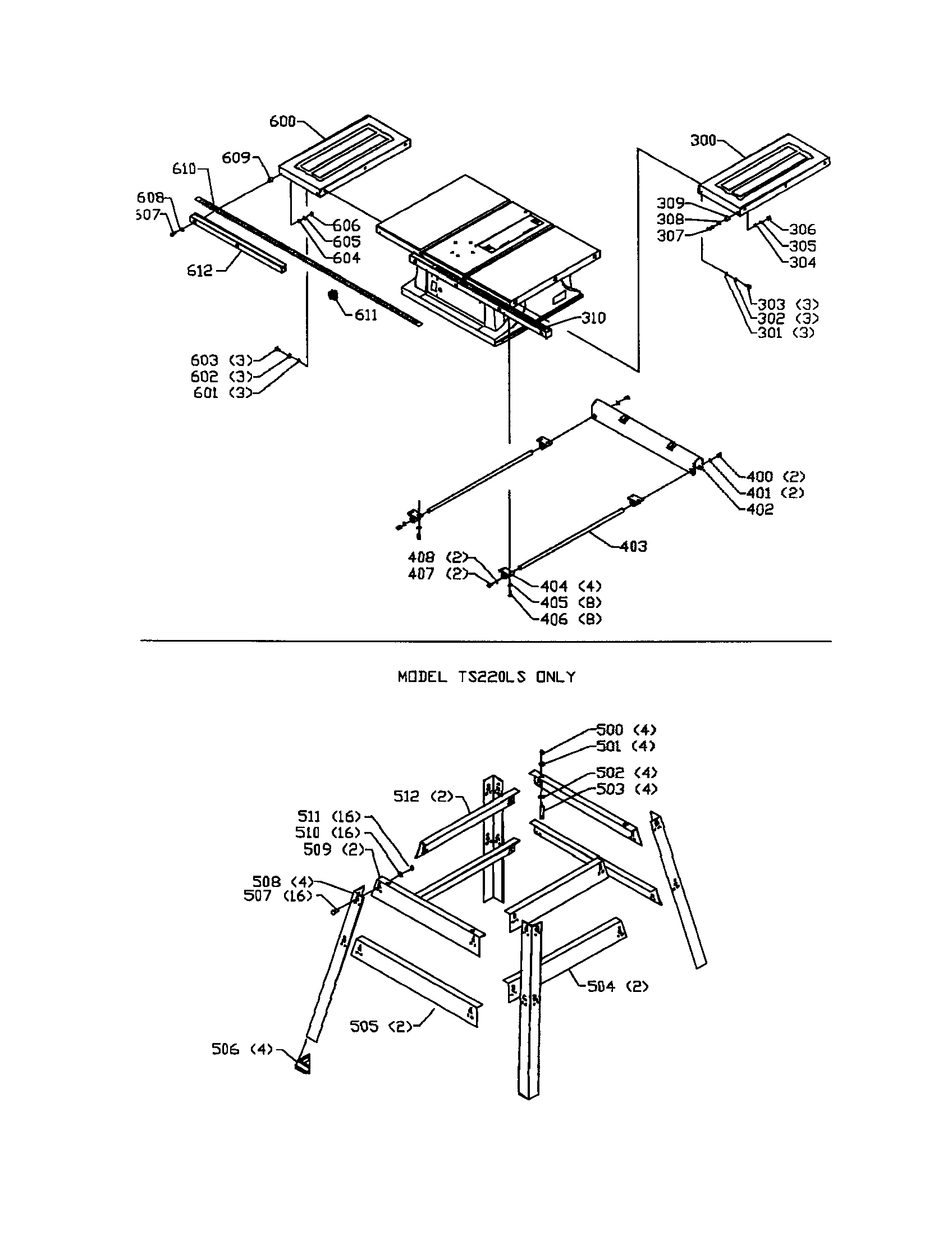 EXTENSION WING/STAND Diagram & Parts List for Model