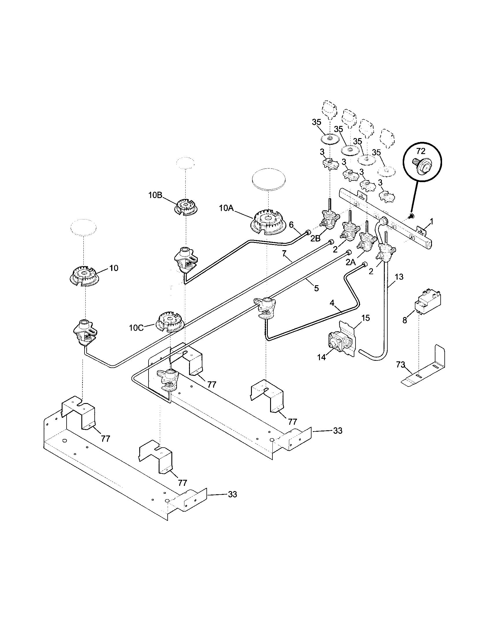 BURNER Diagram & Parts List for Model 79046833100 Kenmore