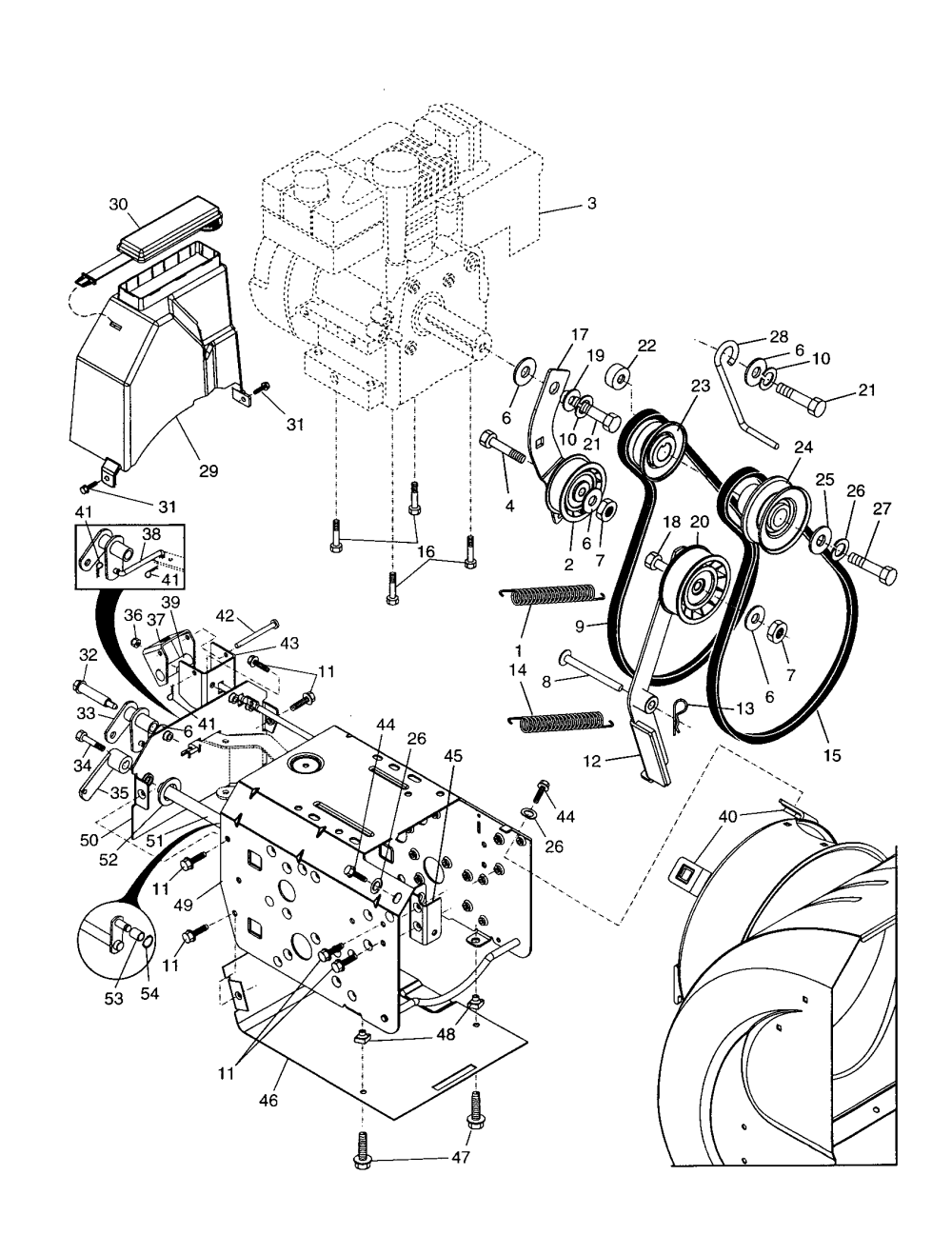 medium resolution of poulan pp524a chassis engine pulleys diagram