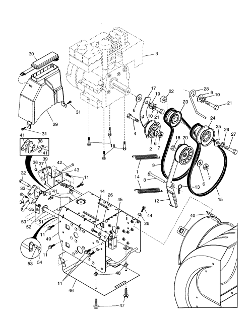 small resolution of poulan pp524a chassis engine pulleys diagram