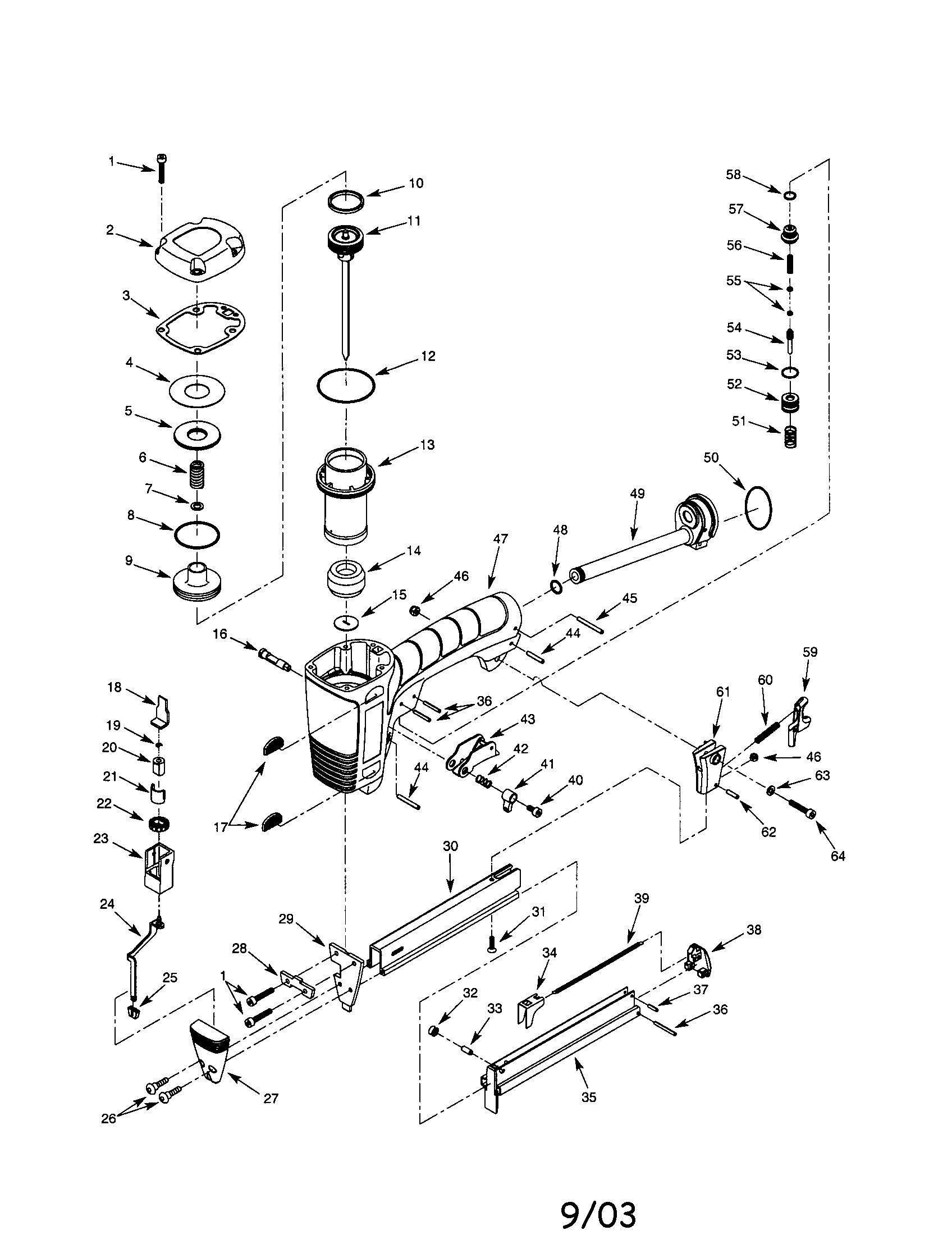 STAPLER Diagram & Parts List for Model 351181700 Craftsman