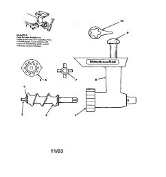 kitchenaid fga food grinder attachments diagram [ 1696 x 2200 Pixel ]