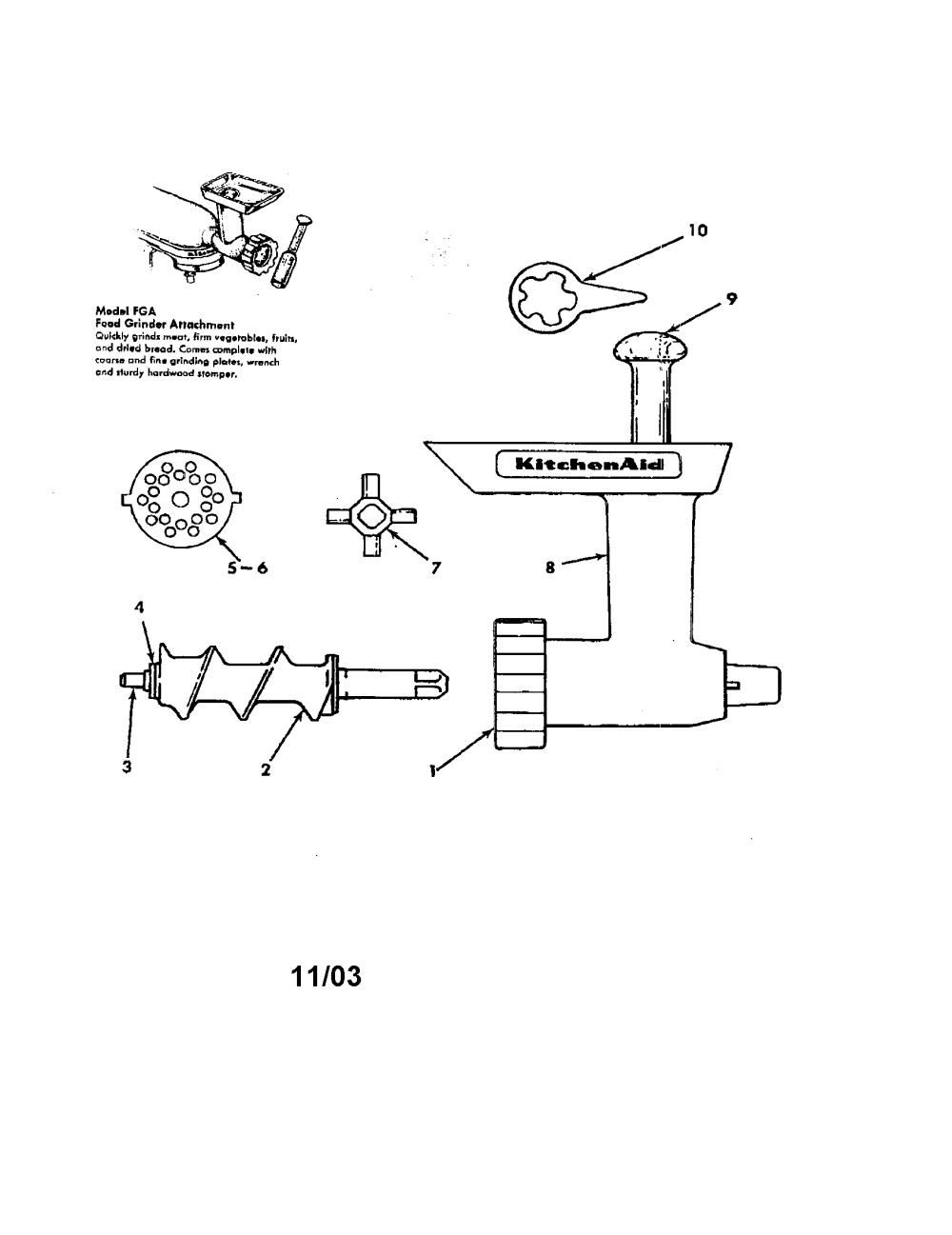 medium resolution of kitchenaid fga food grinder attachments diagram