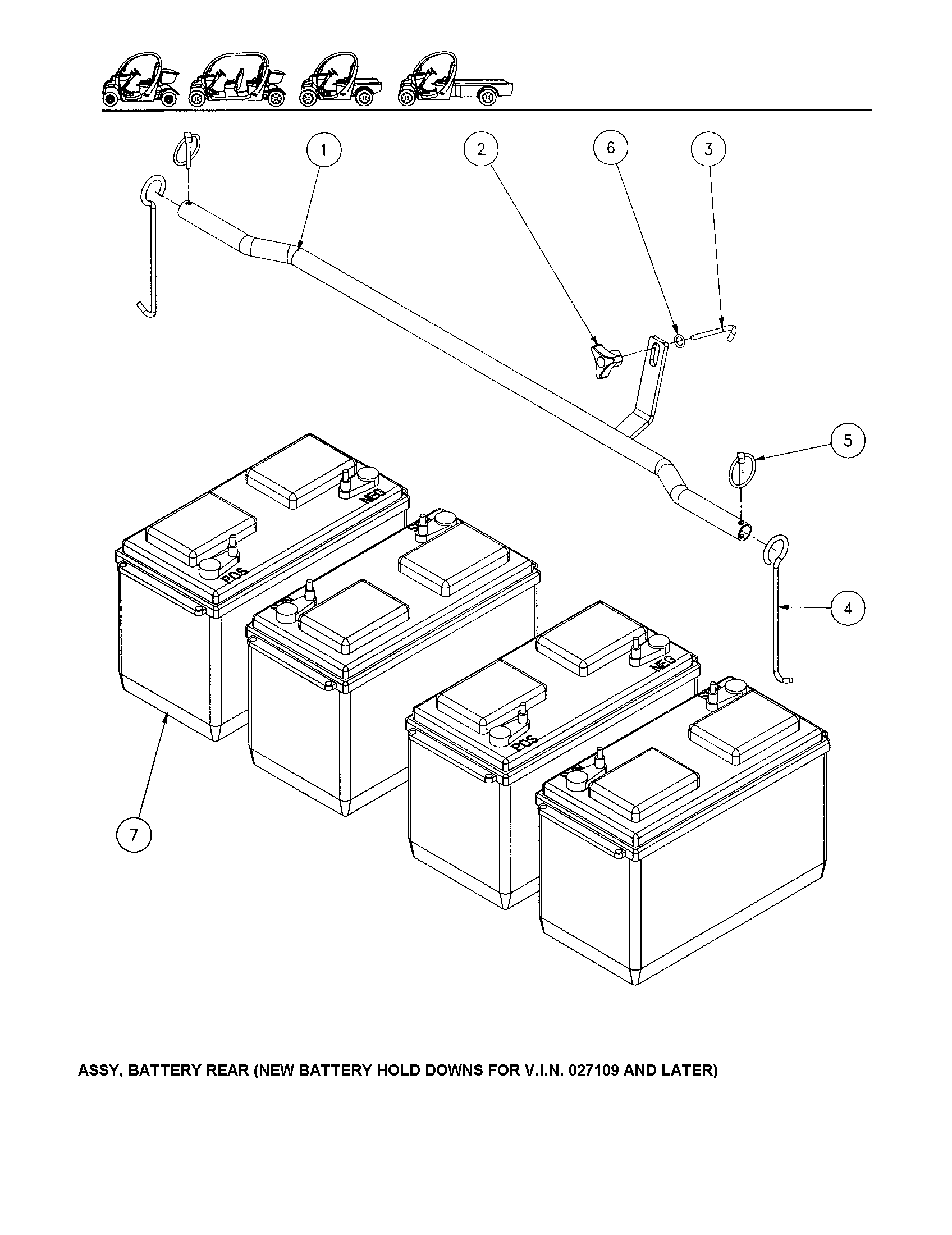 BATTERY, REAR Diagram & Parts List for Model geme825 Gem