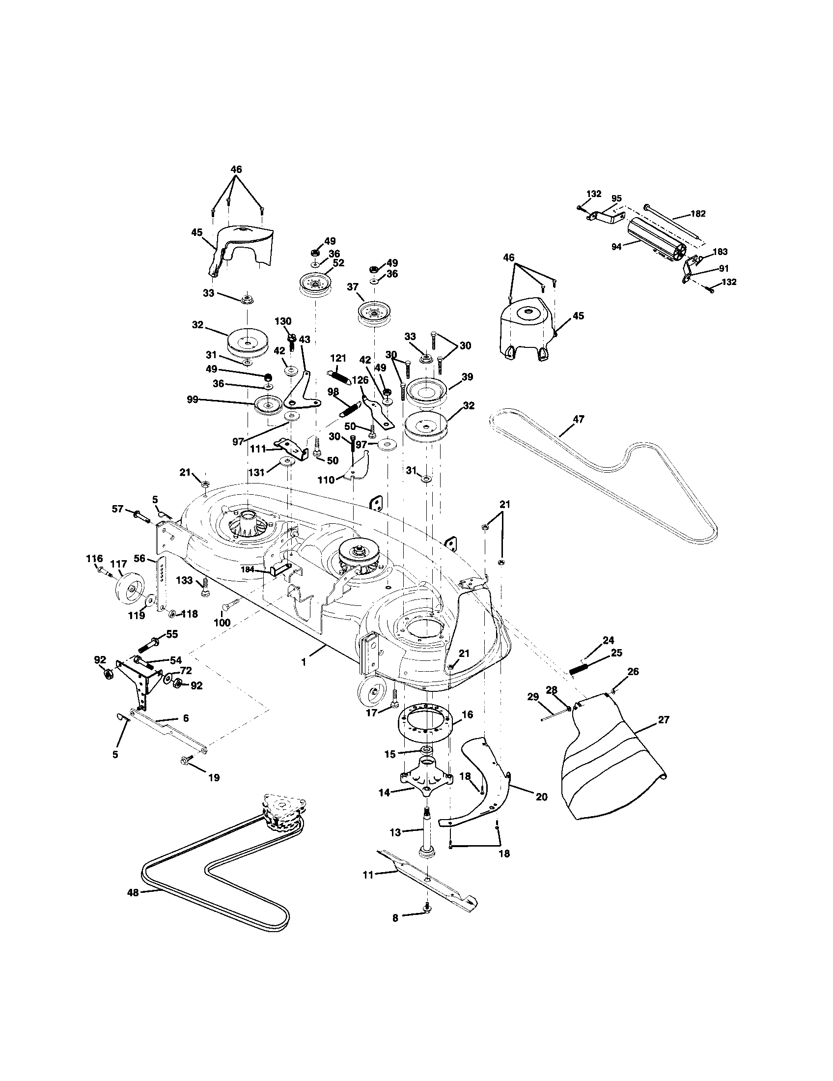 MOWER DECK Diagram & Parts List for Model yth2148