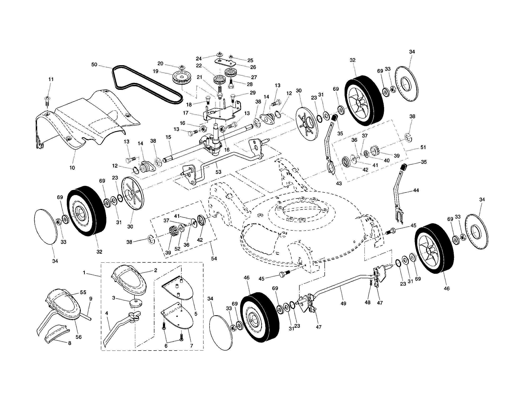 WHEELS/TIRES/BELT/DRIVE COVER Diagram & Parts List for