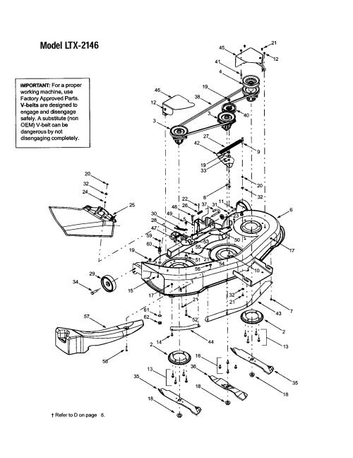 small resolution of troybilt 13ap609g063 deck shell belt cover ltx 2146 diagram