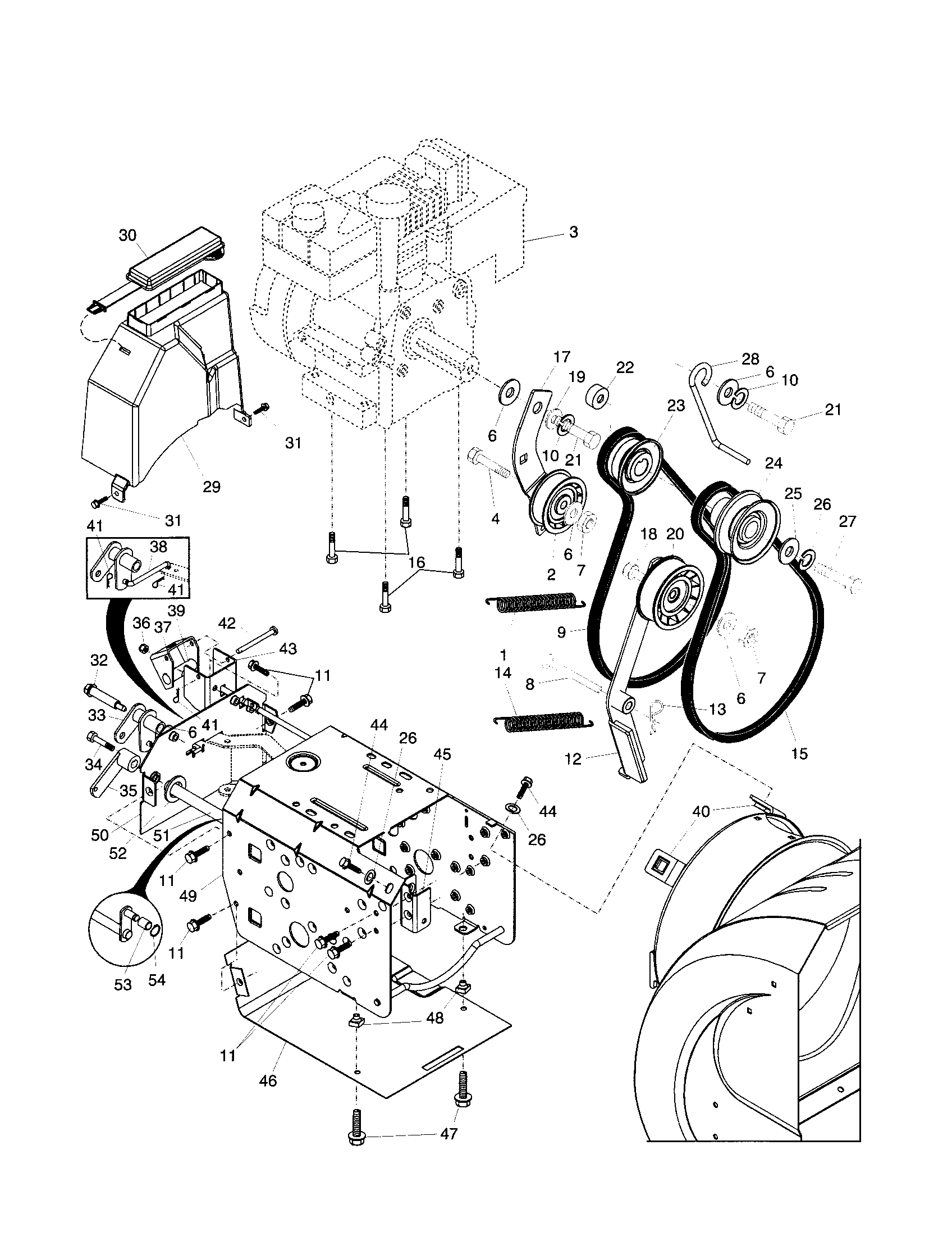 CHASSIS/ENGINE/PULLEYS Diagram & Parts List for Model