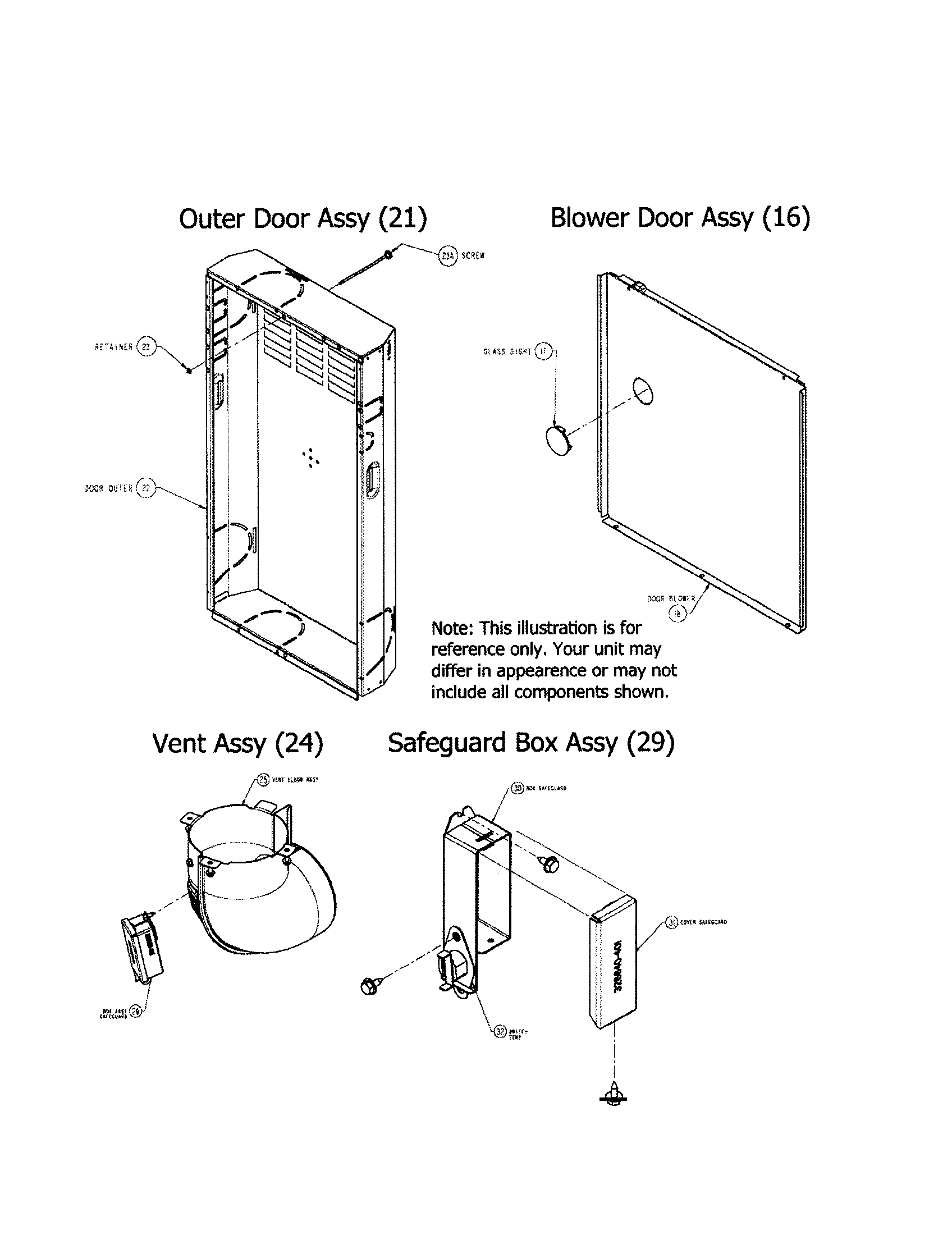 OUTER/BLOWER DOOR/VENT/SAFEGUARD Diagram & Parts List for