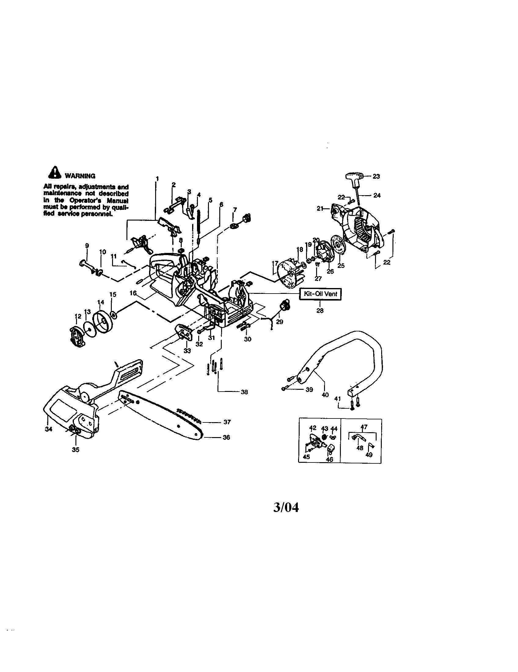hight resolution of craftsman 358360180 housing chain bar handle diagram
