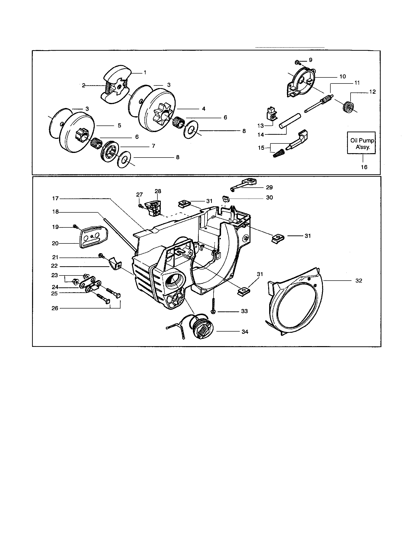 CLUTCH DRUM/CHASSIS Diagram & Parts List for Model 136