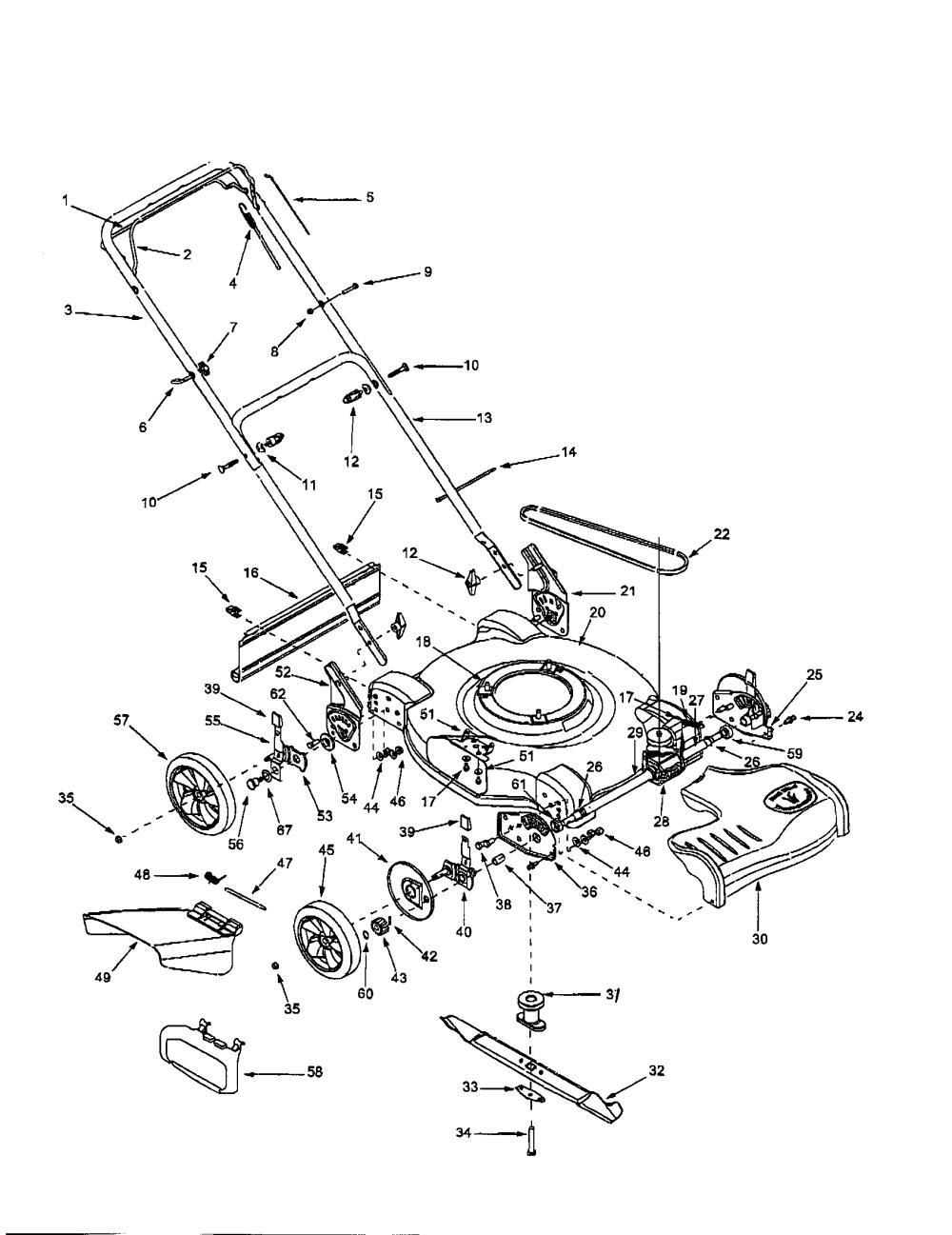medium resolution of bolens 12a 264l163 22 self propelled mower diagram
