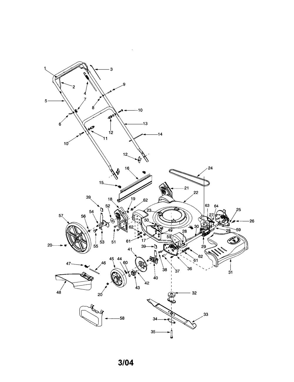 medium resolution of bolens 12a 526l163 self propelled mower diagram