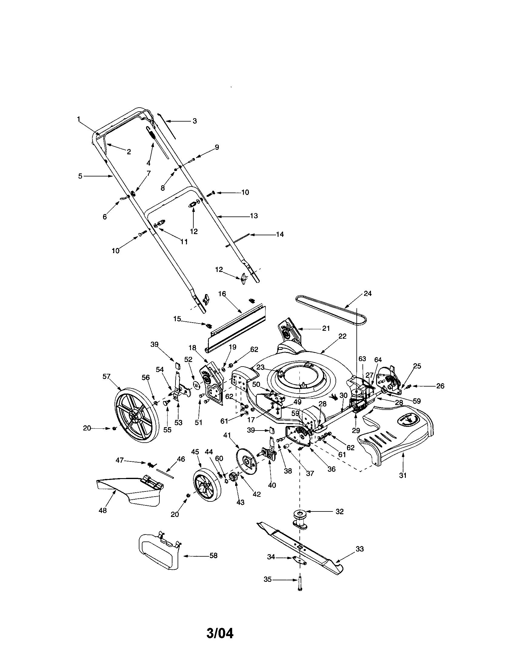 hight resolution of bolens 12a 526l163 self propelled mower diagram