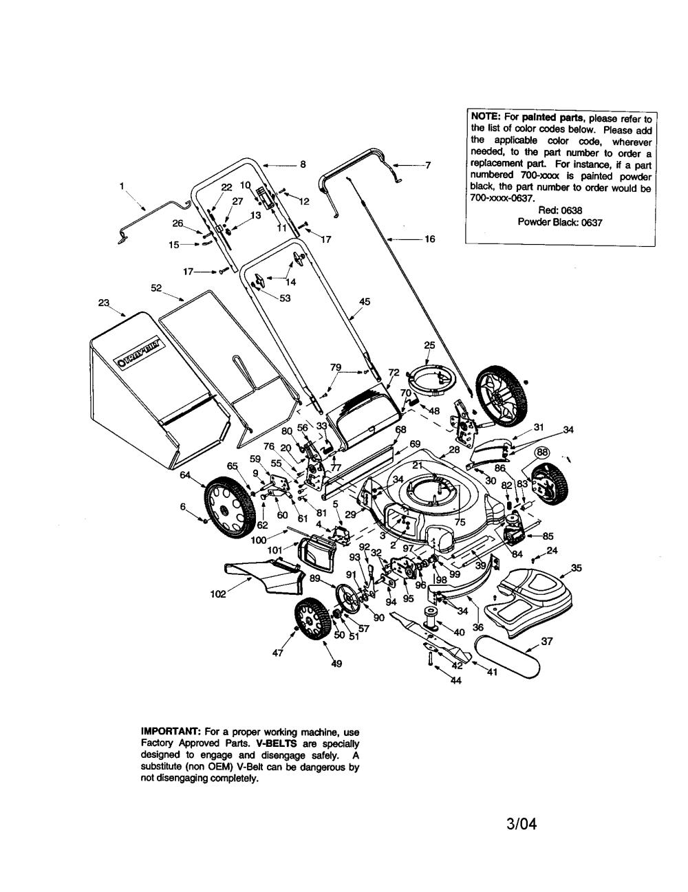 medium resolution of troybilt 12ad566n063 self propelled mulching mower diagram