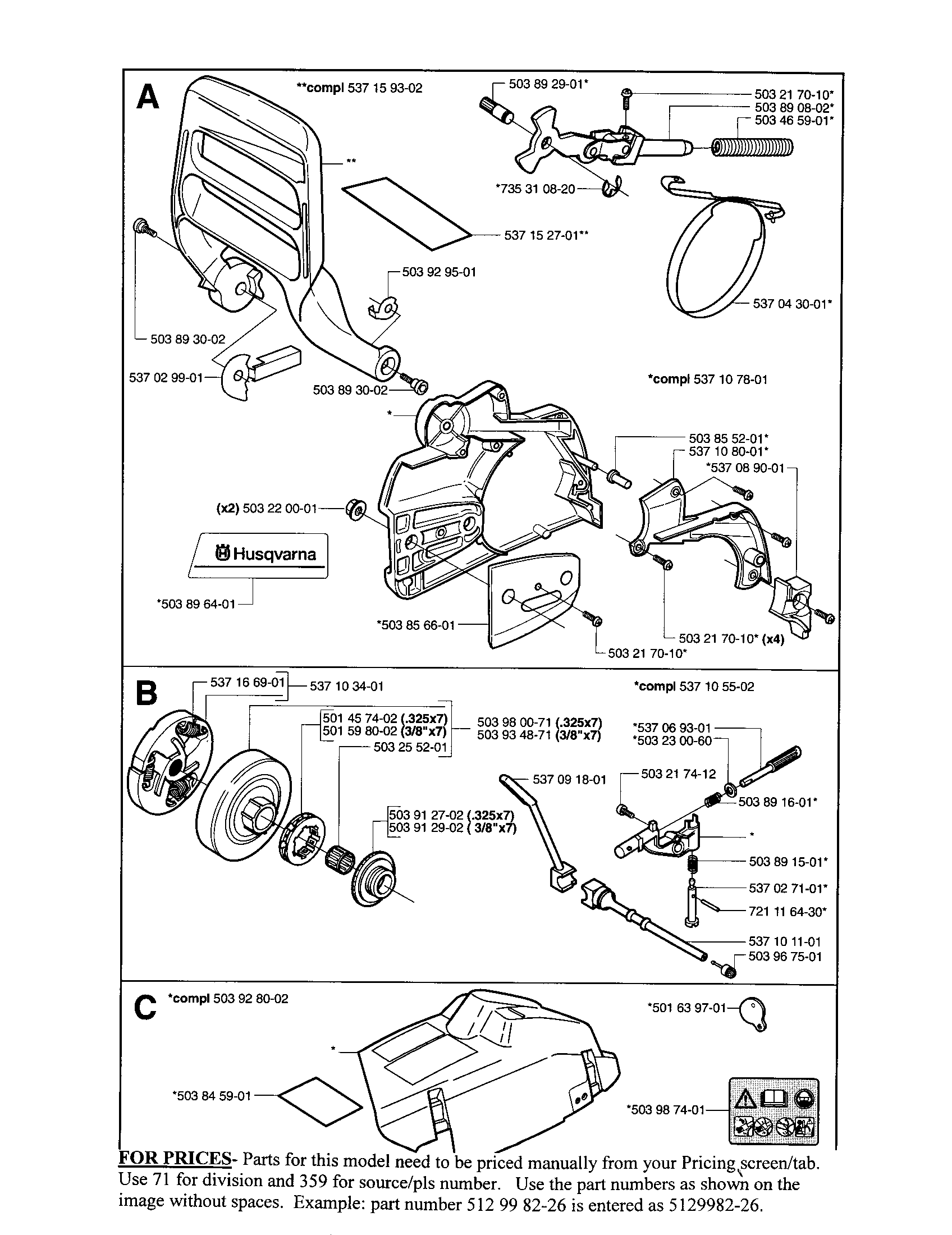 Husqvarna 350 Chainsaw Parts Manual