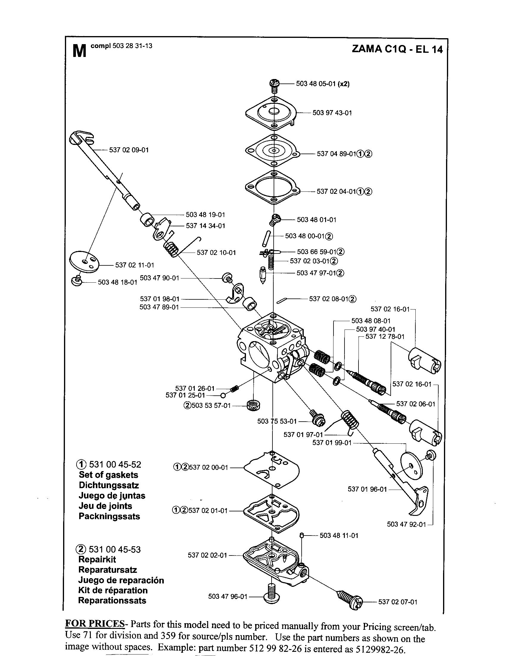 CARB Diagram & Parts List for Model 326HS75 Husqvarna