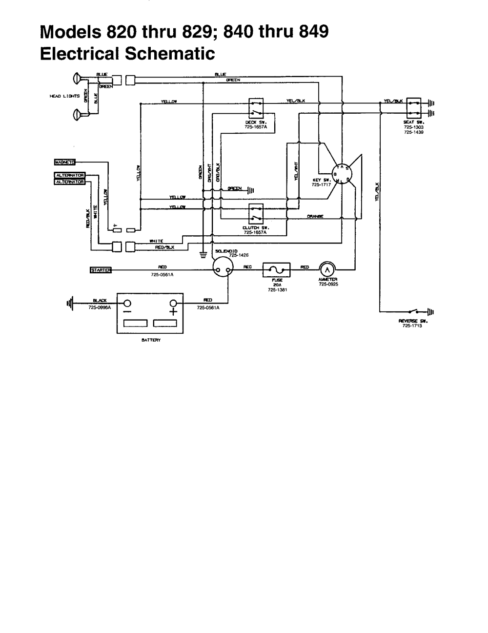 medium resolution of mtd 840 thru 849 electrical schematic diagram