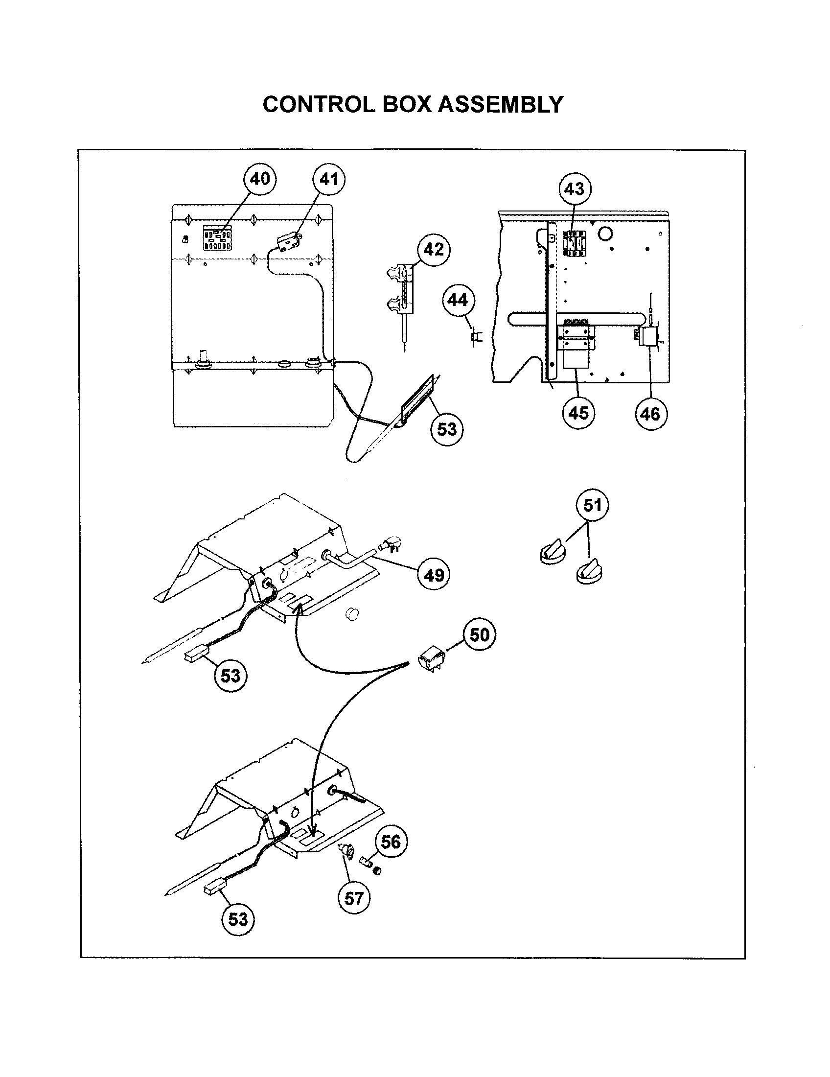 CONTROL BOX ASSEMBLY Diagram & Parts List for Model