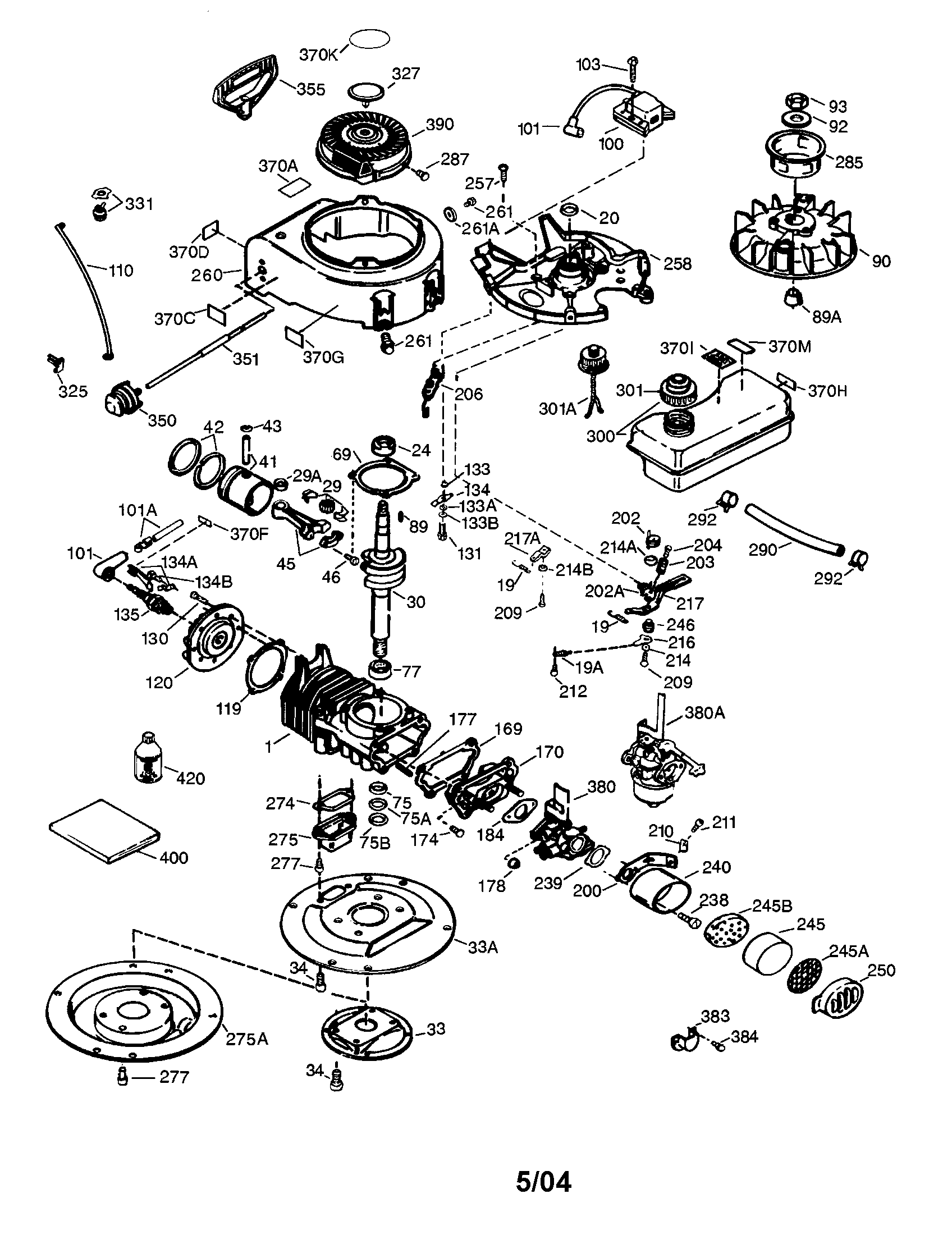 TECUMSEH ENGINE Diagram & Parts List for Model