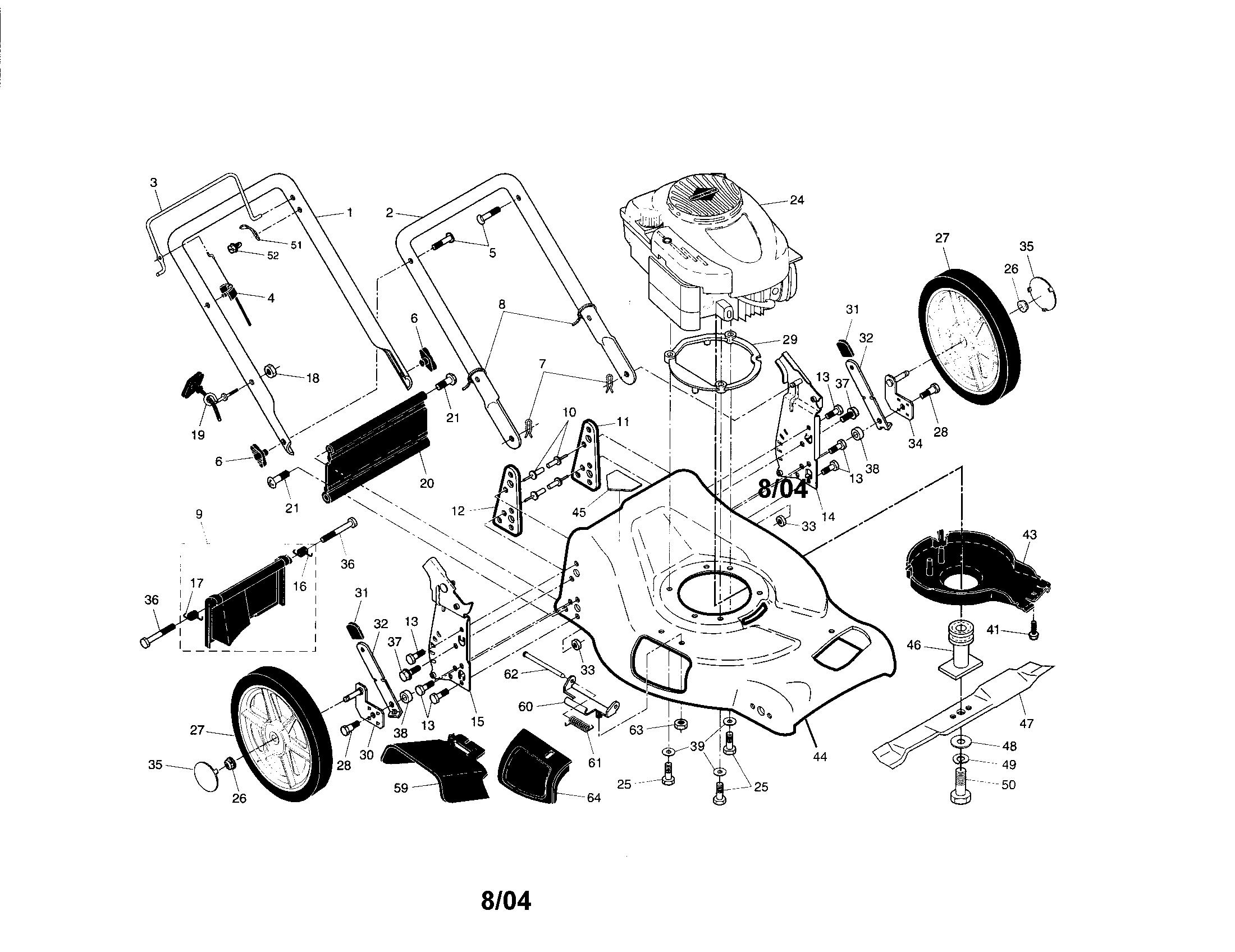CRAFTSMAN Gas Walk Behind Lawnmower Wheels/tires/bag Parts