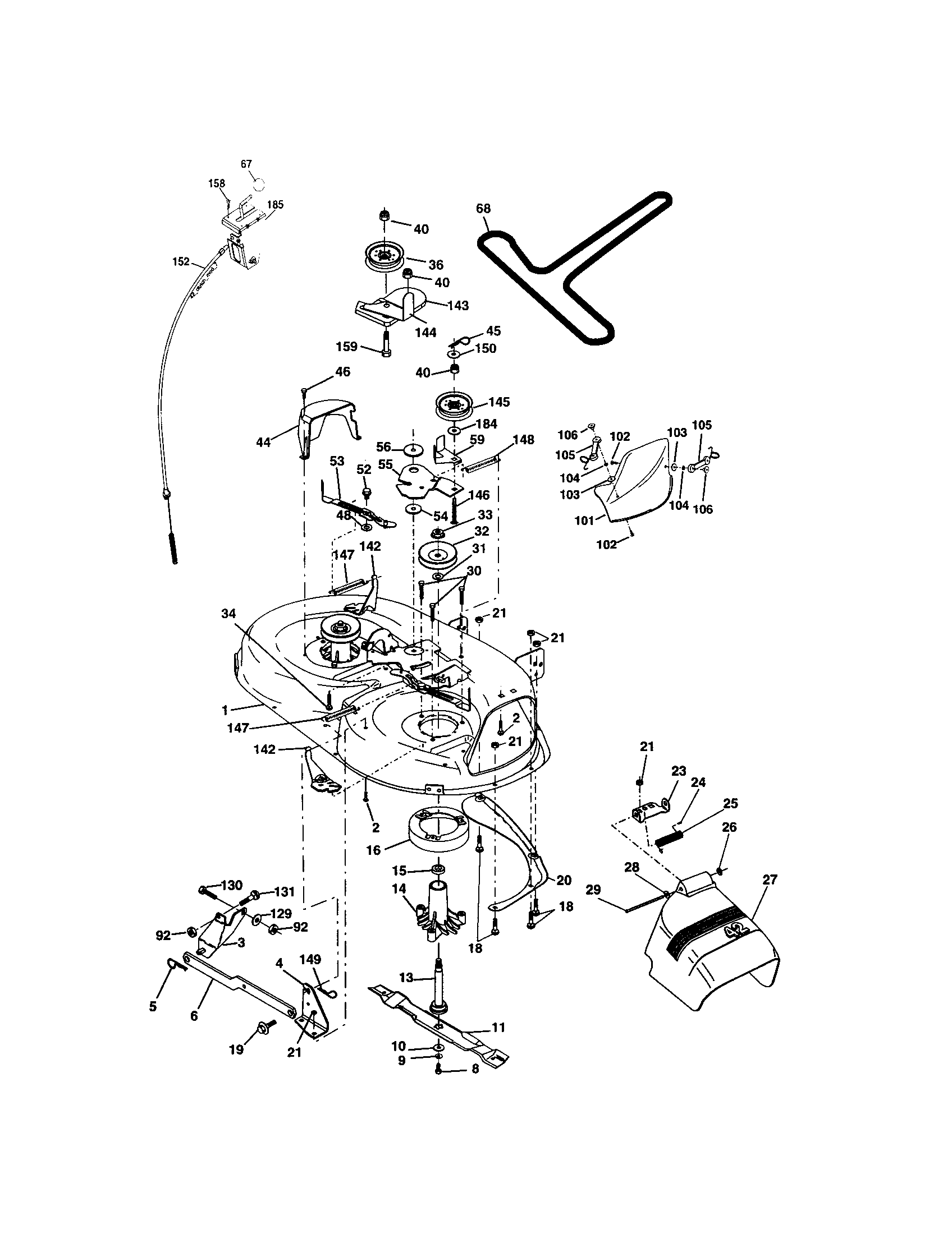 hight resolution of craftsman 917273399 mower deck diagram