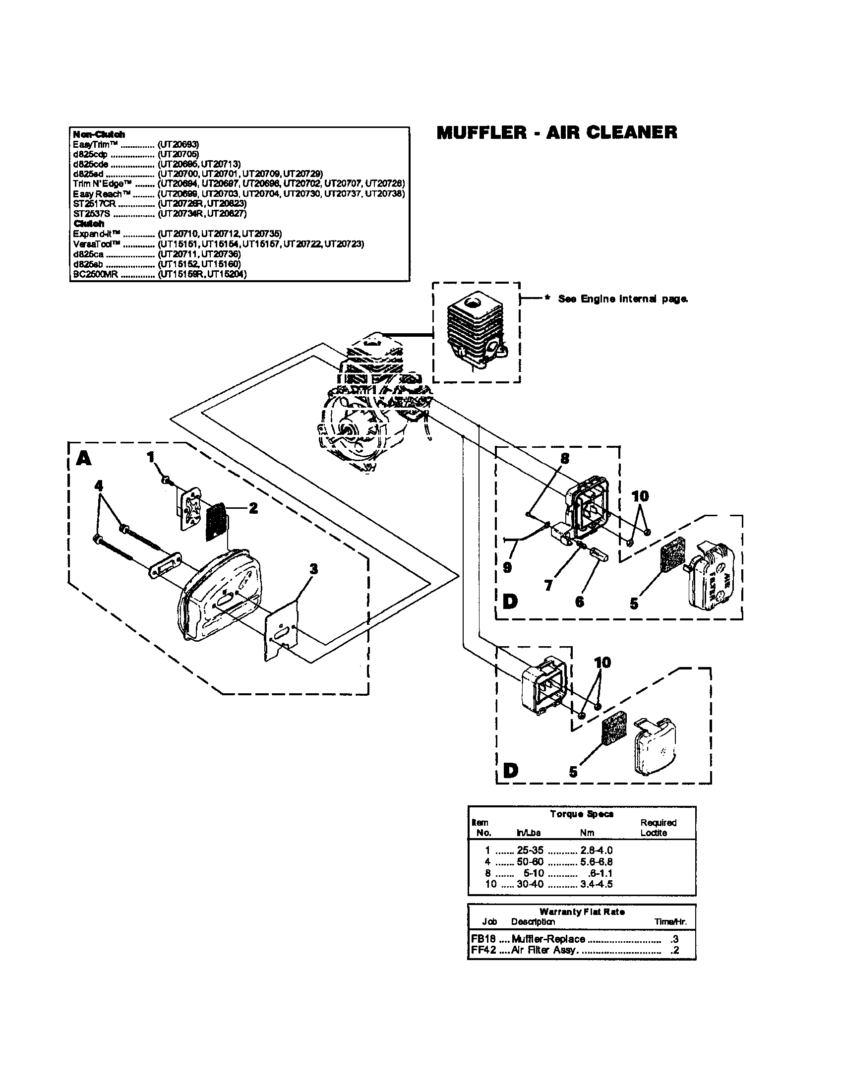 MUFFLER/AIR CLEANER Diagram & Parts List for Model UT15204