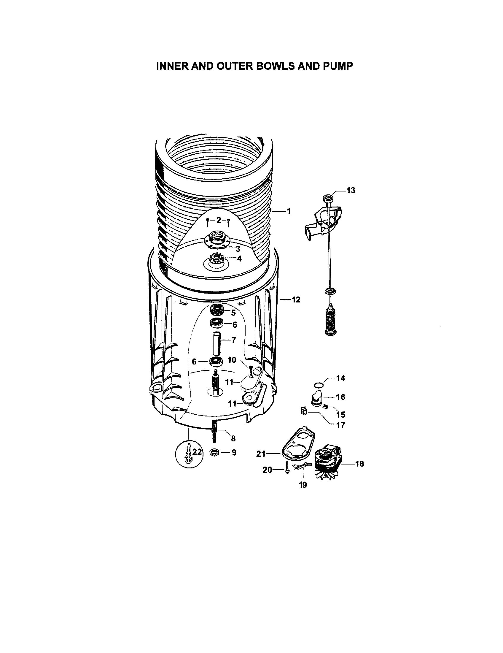 hight resolution of fisher paykel gwl11 96151 inner and outer bowls and pump diagram