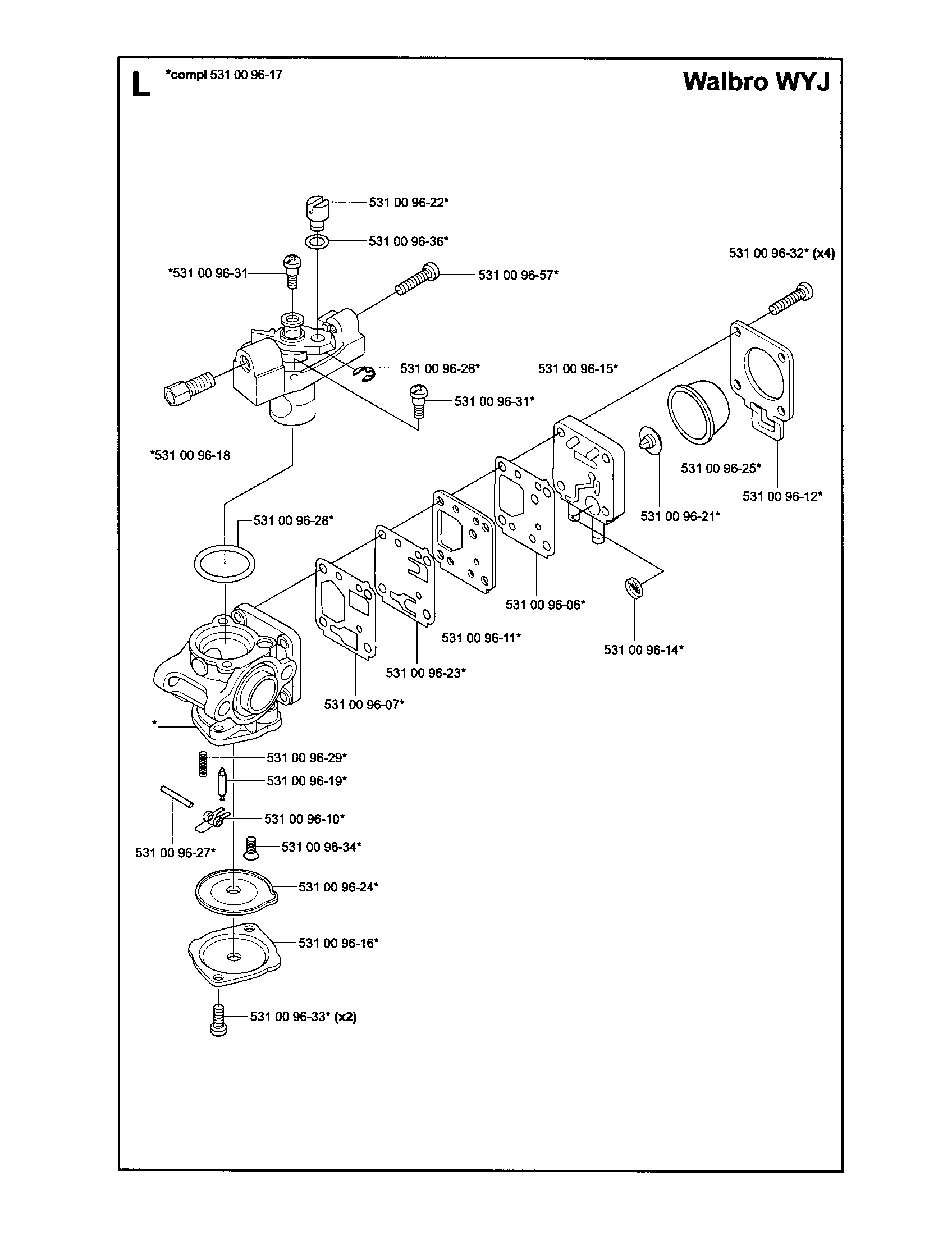 CARBURETOR Diagram & Parts List for Model 125BT Husqvarna