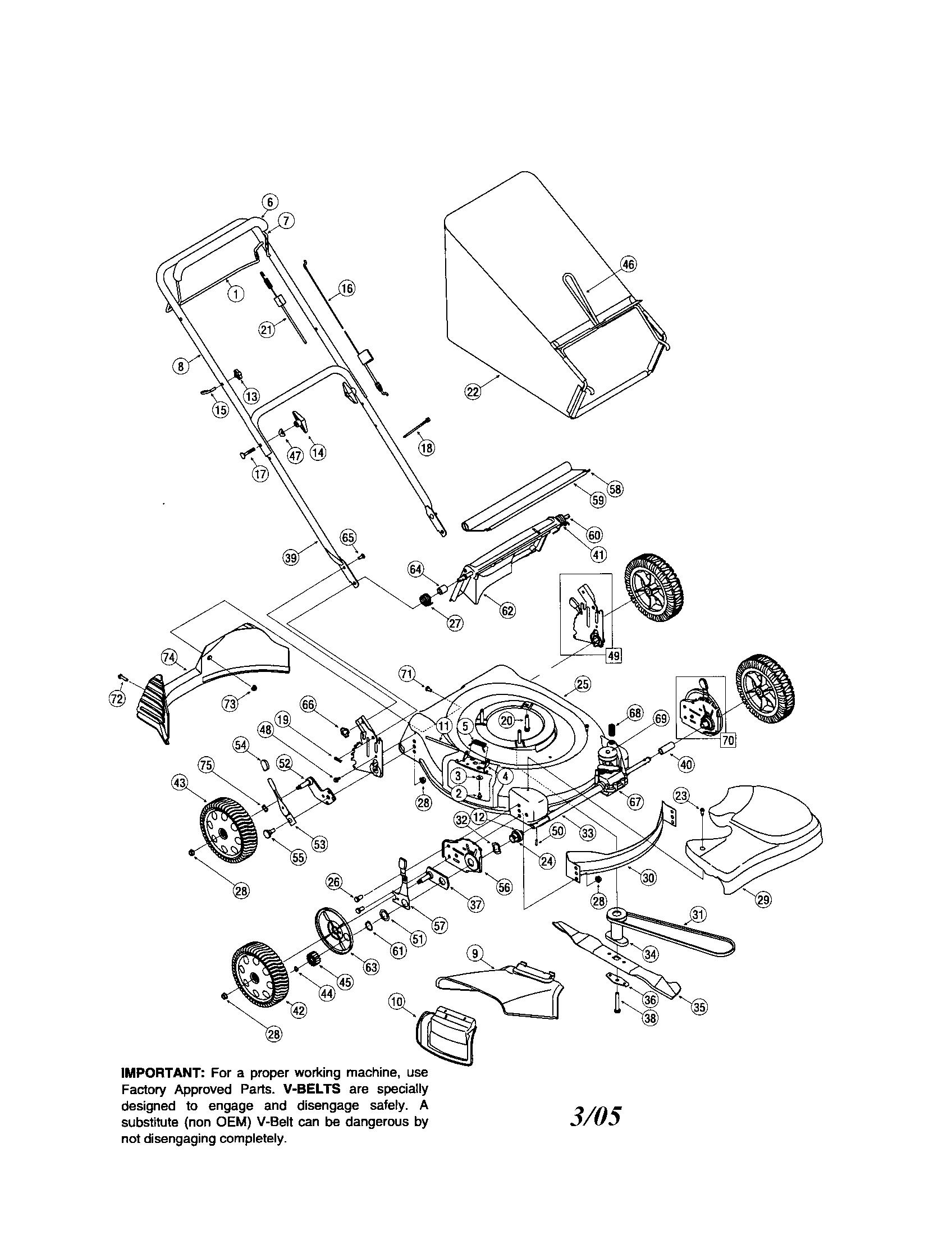 Troybilt mower parts model 469 sears partsdirect