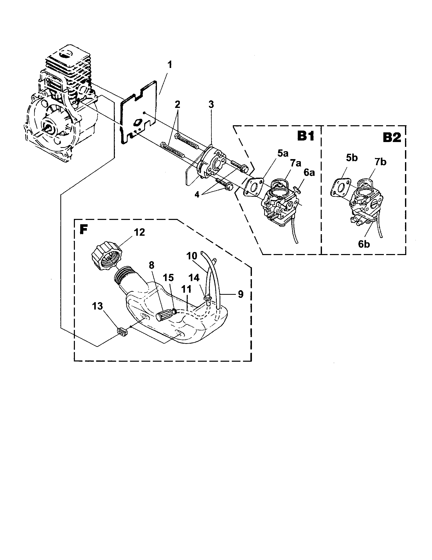 CARBURETOR/FUEL TANK Diagram & Parts List for Model