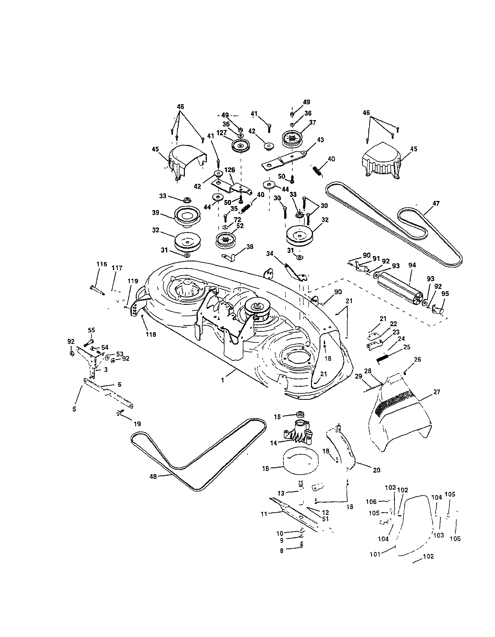 MOWER DECK Diagram & Parts List for Model yth180 Husqvarna