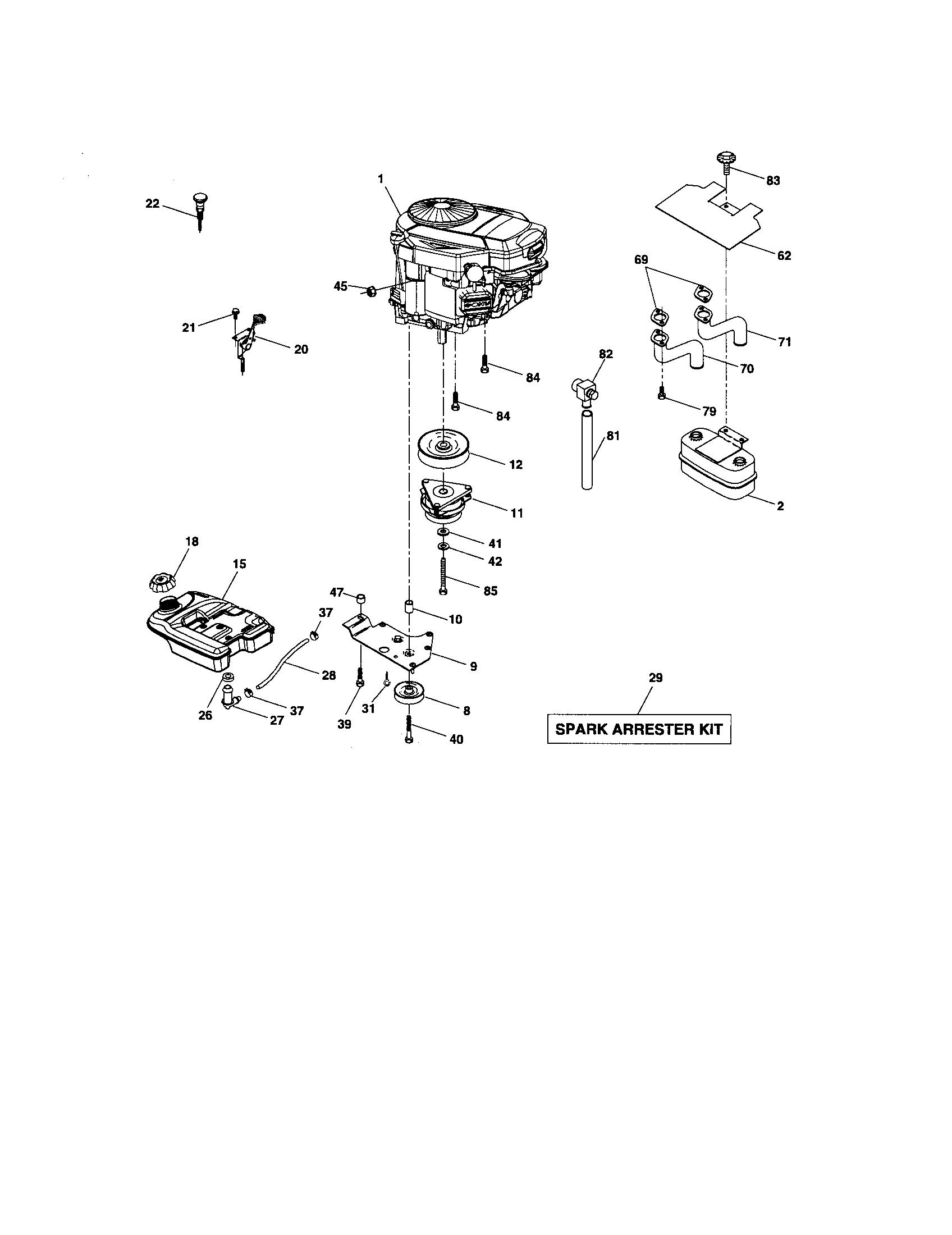 ENGINE Diagram & Parts List for Model 917276221 Craftsman
