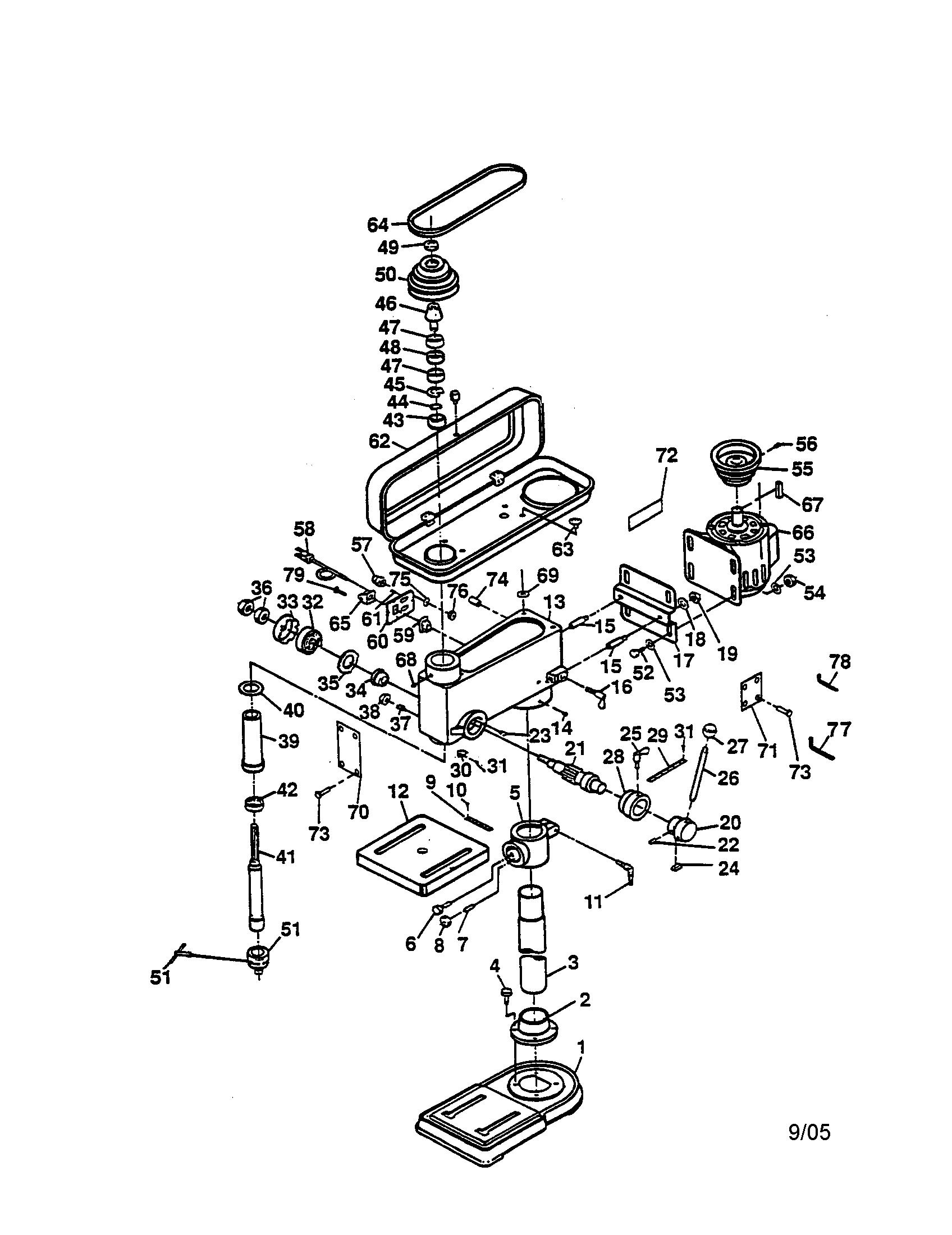hight resolution of ryobi dp100 drill press diagram