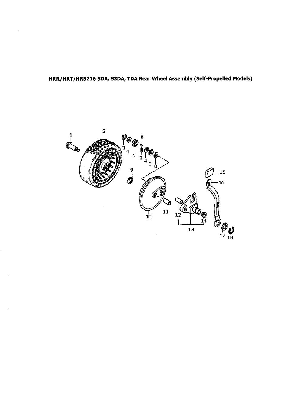 medium resolution of honda hrr216tda rear wheel assembly diagram