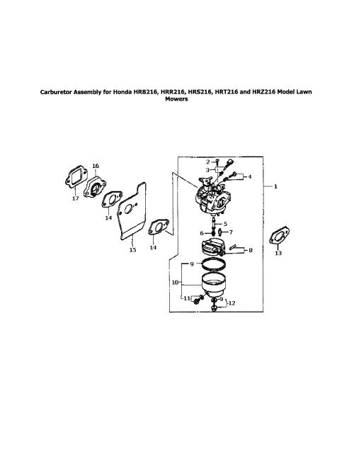 small resolution of honda hrr216tda carburetor assembly for hondas diagram