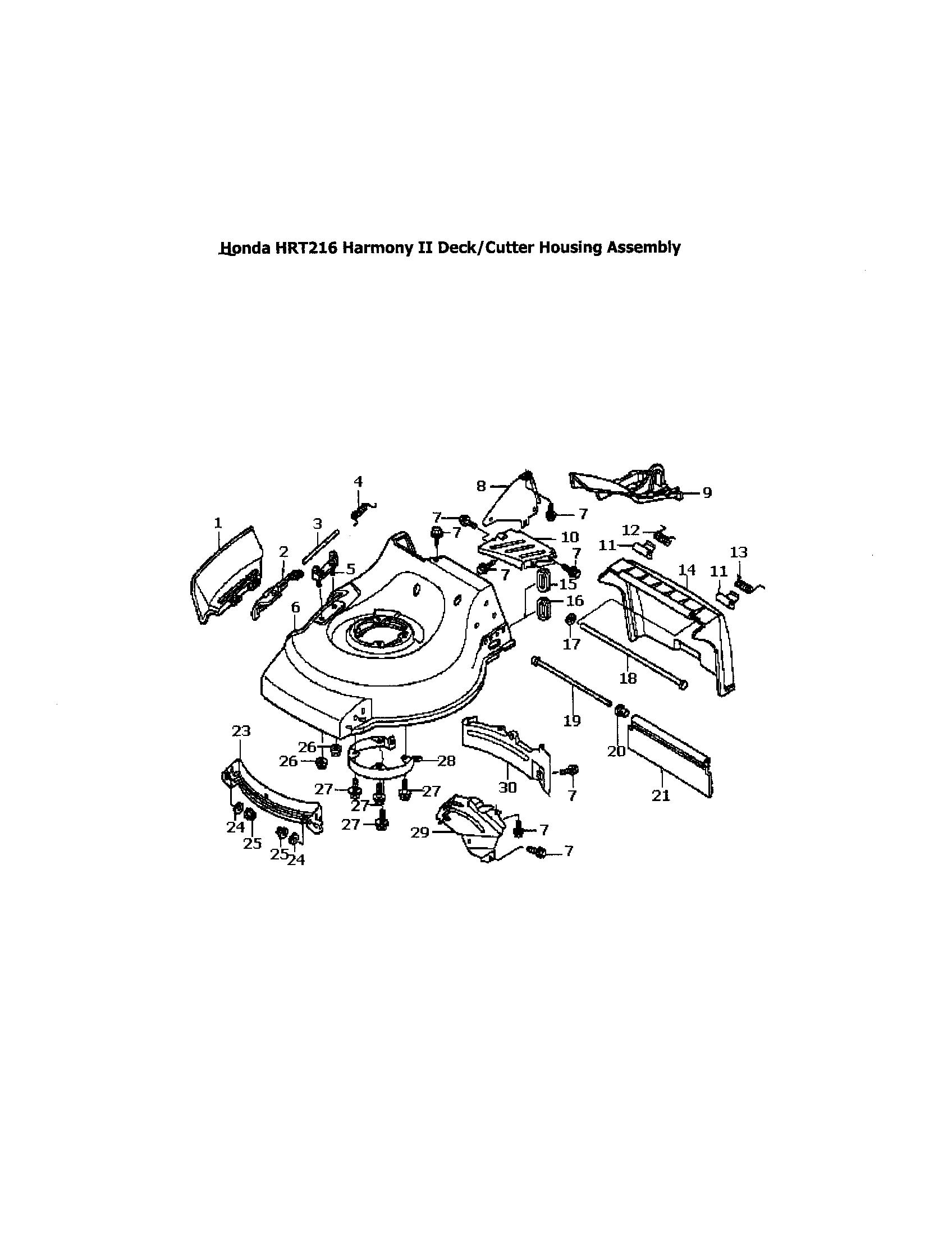 hight resolution of honda hrr216tda deck cutter housing diagram