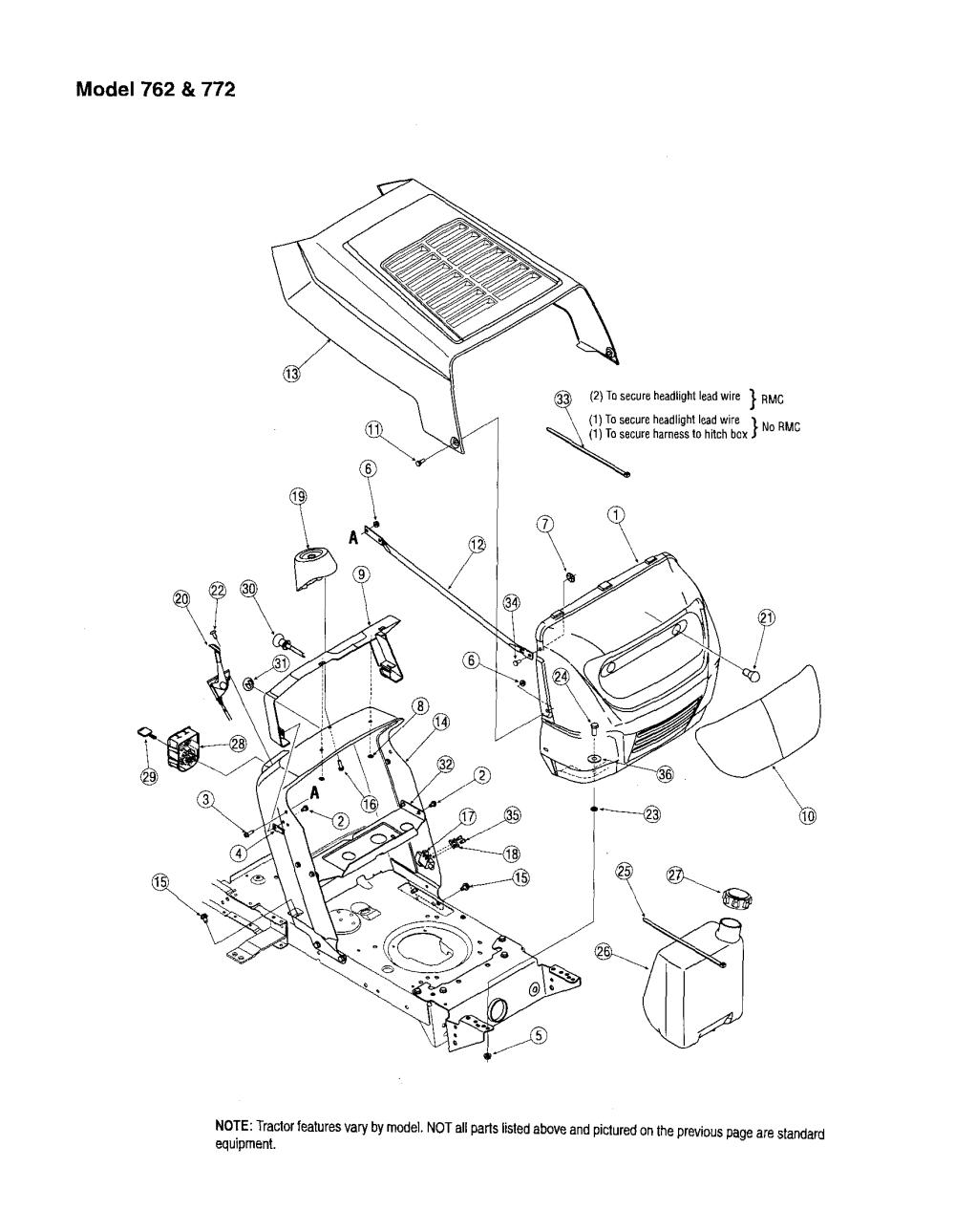 medium resolution of mtd 13am762f765 hood dash models 762 772 diagram