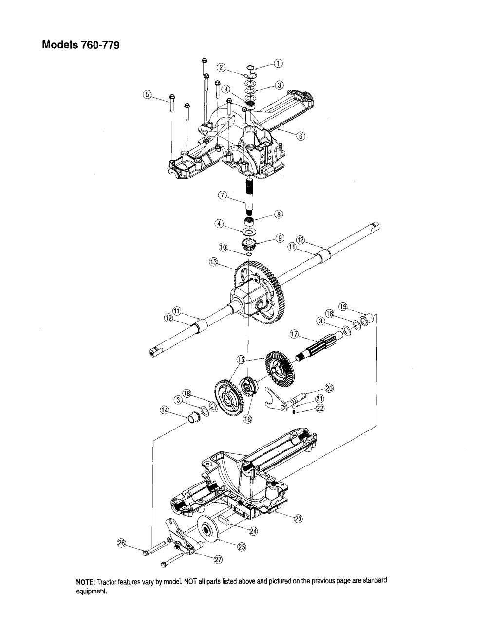 medium resolution of mtd 13am762f765 differential models 760 779 diagram