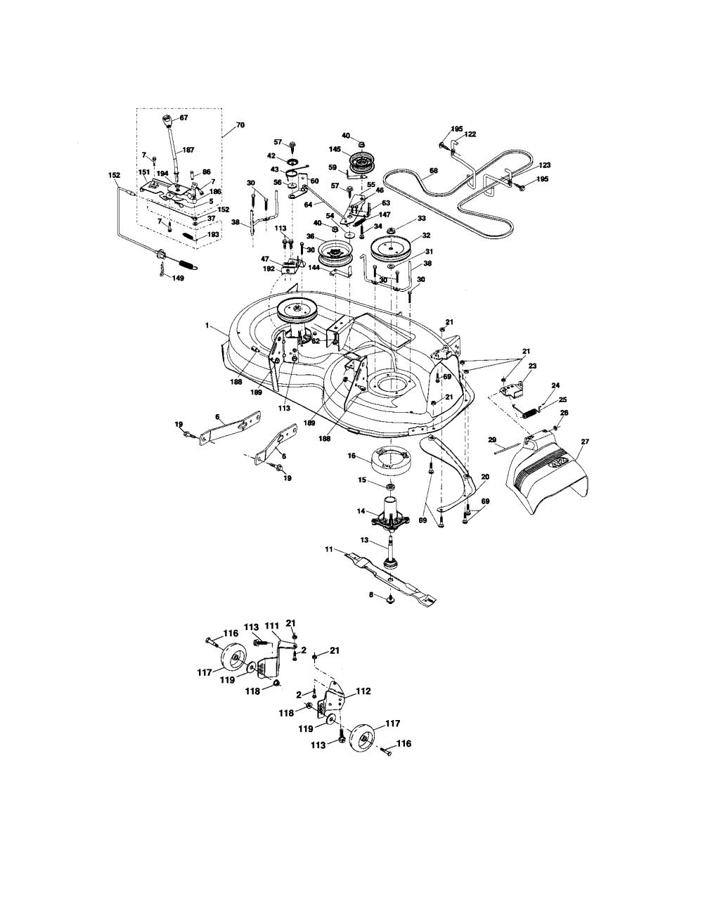 medium resolution of craftsman 917276600 mower deck diagram