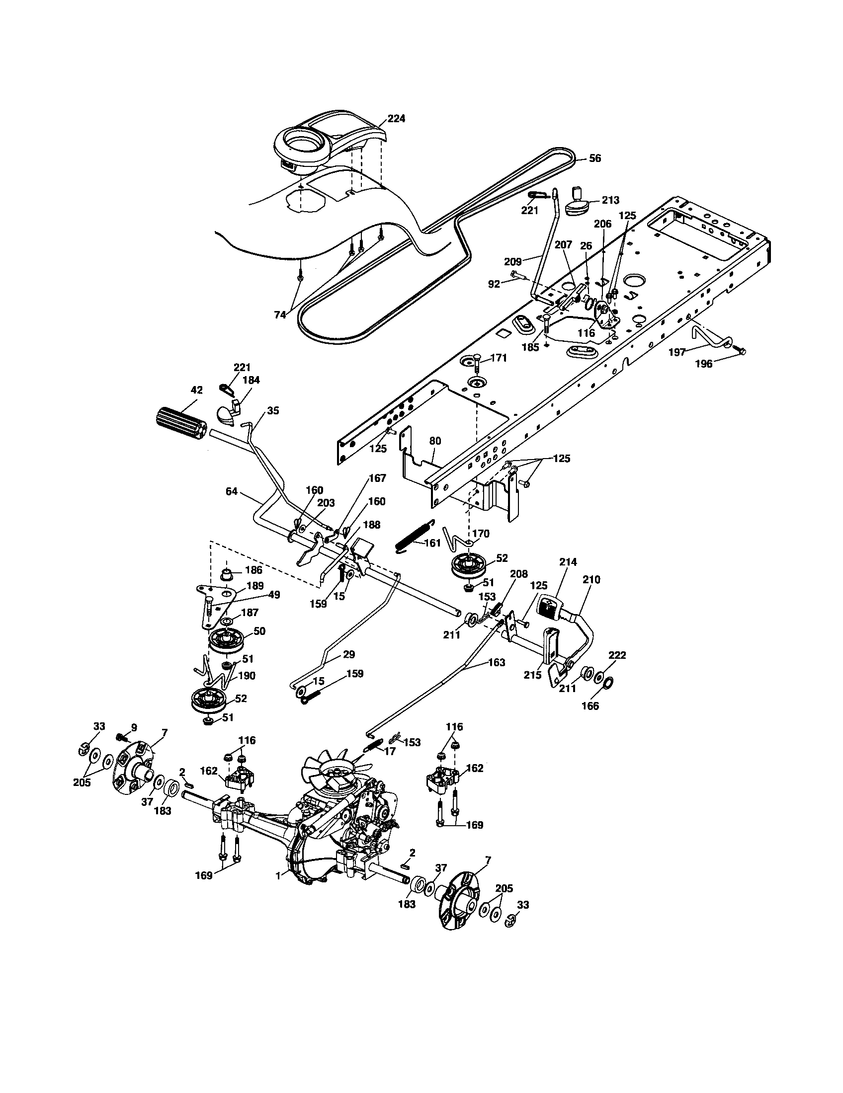 DRIVE Diagram & Parts List for Model 96042000700 Poulan