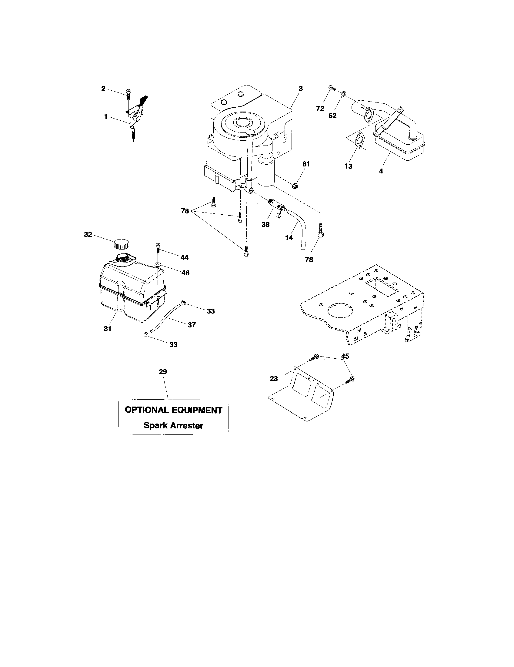 ENGINE Diagram & Parts List for Model 917276813 Craftsman