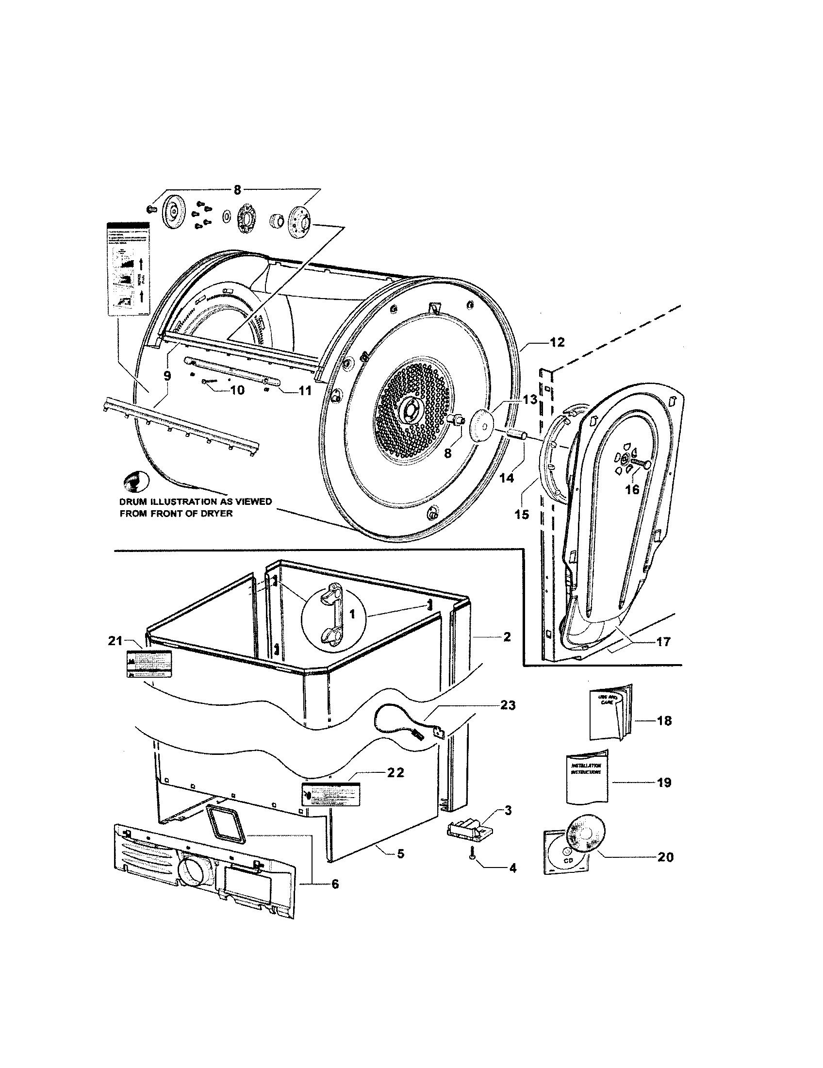 CABINET/DRUM/INLET DUCT Diagram & Parts List for Model