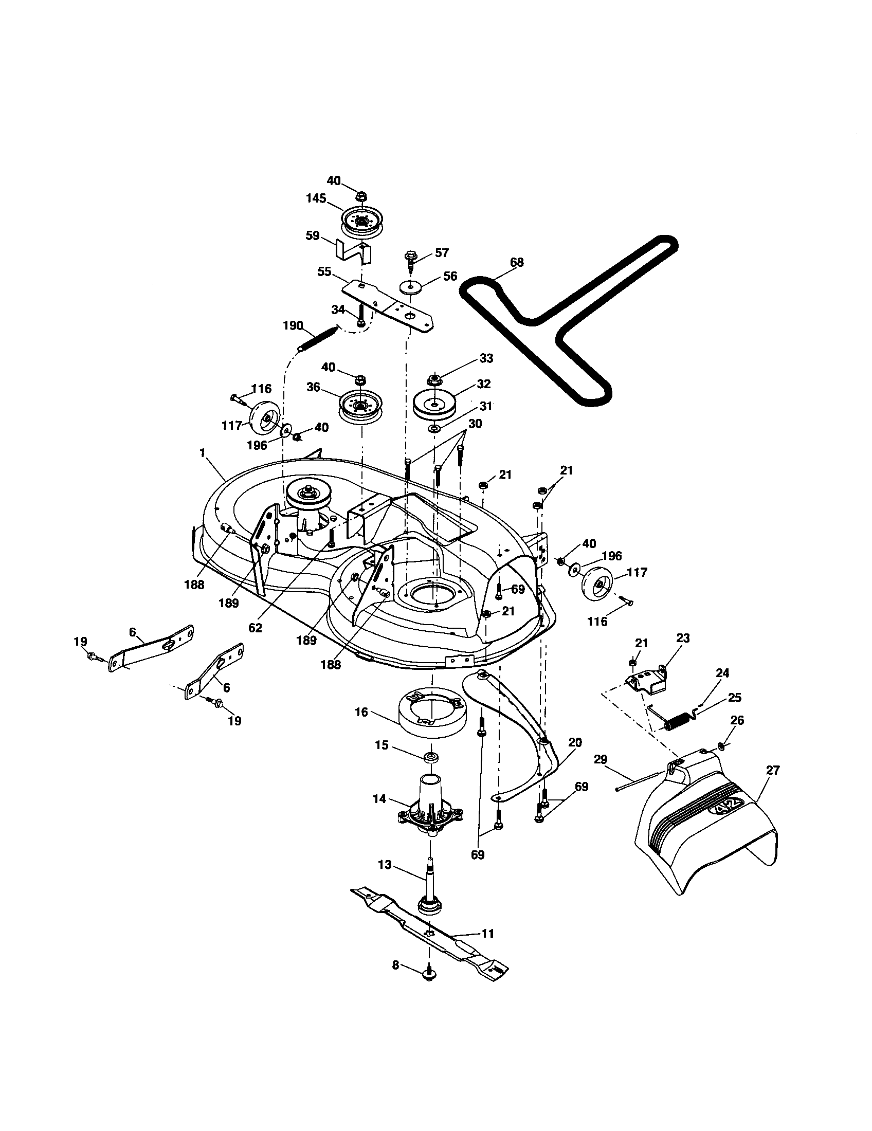 husqvarna lawn tractor parts diagram 2005 honda civic stereo wiring mower deck and list for model yth2242t
