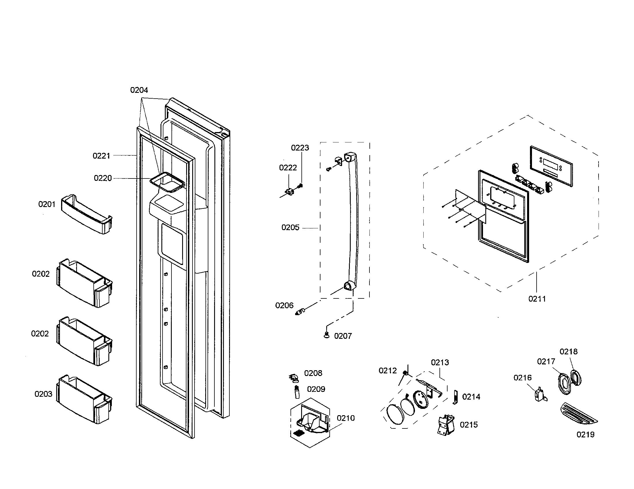 FREEZER DOOR Diagram & Parts List for Model B20CS80SNS01