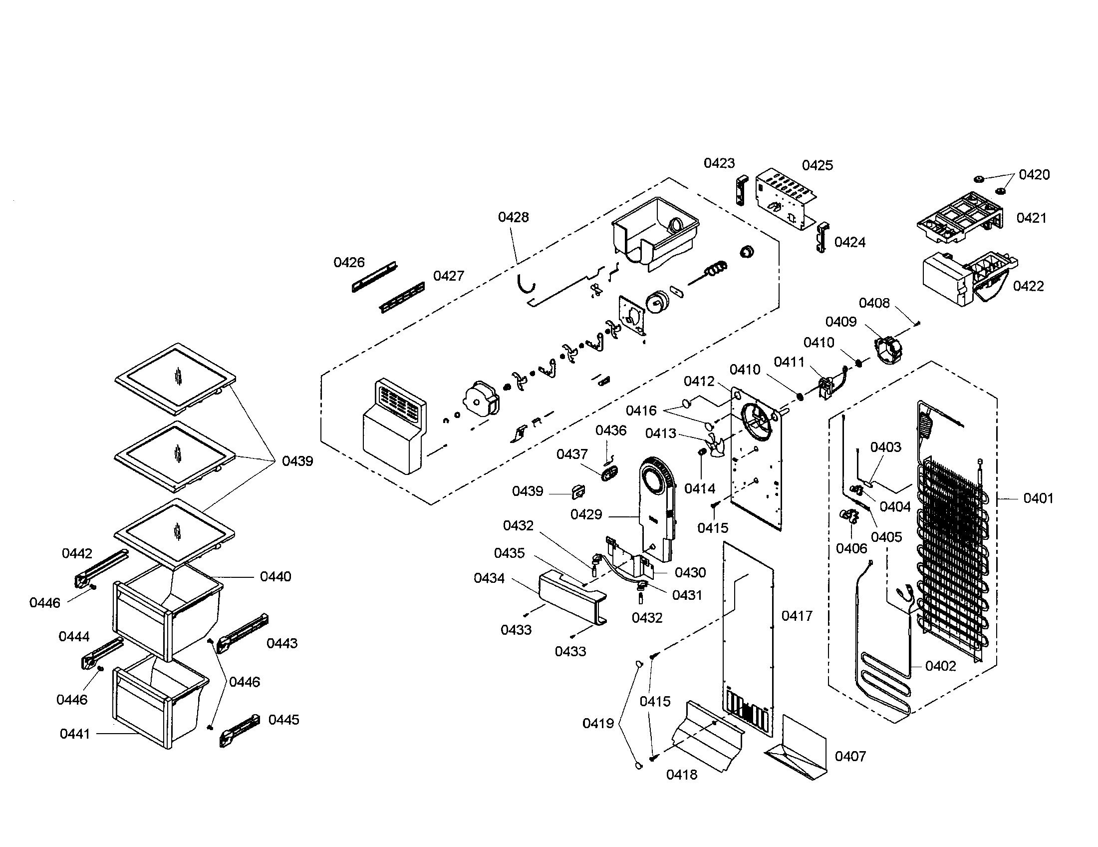 FREEZER SECTION Diagram & Parts List for Model B20CS80SNS